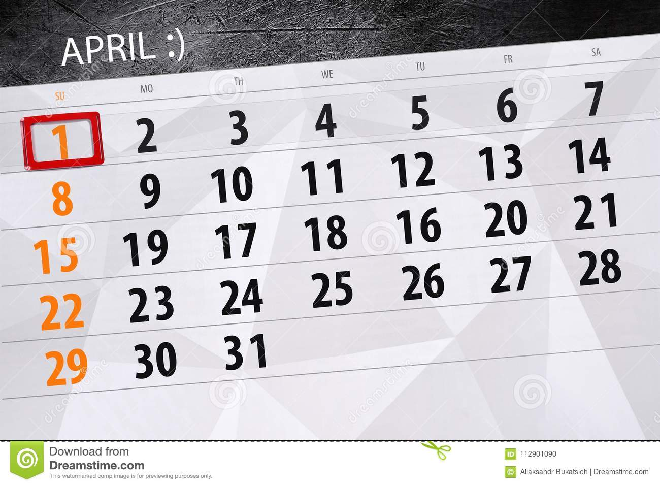 Dupe jour calendrier page 2018 le 1er avril