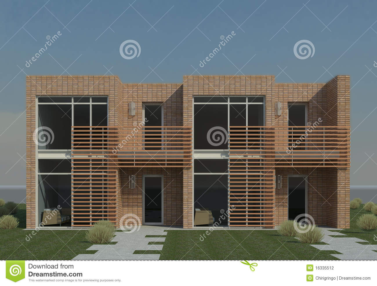 Duplex moderne illustration stock illustration du for Plan duplex moderne