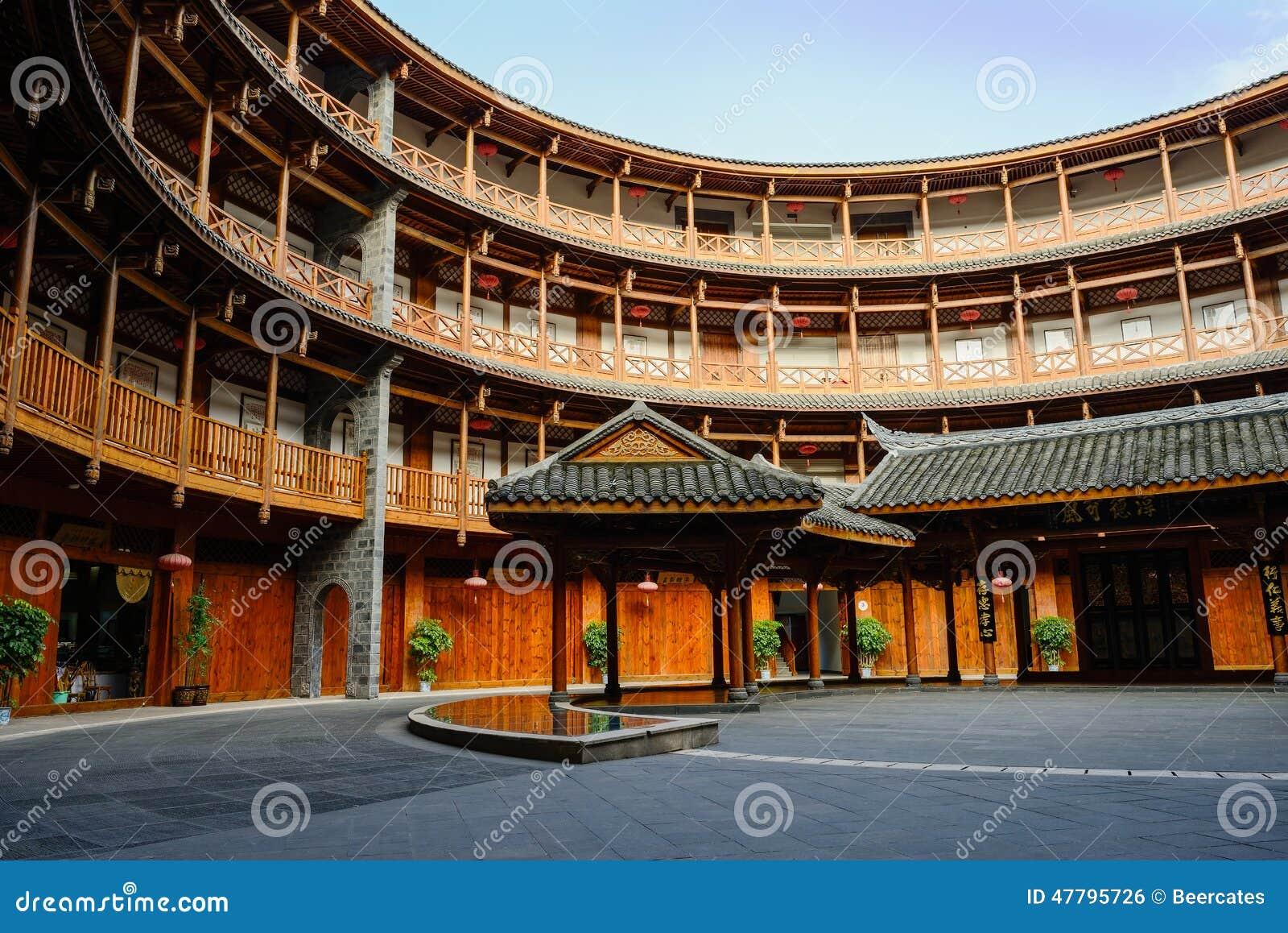 Duplicaat van Fujian Tulou, de cirkel aarden woningsbouw, binnen