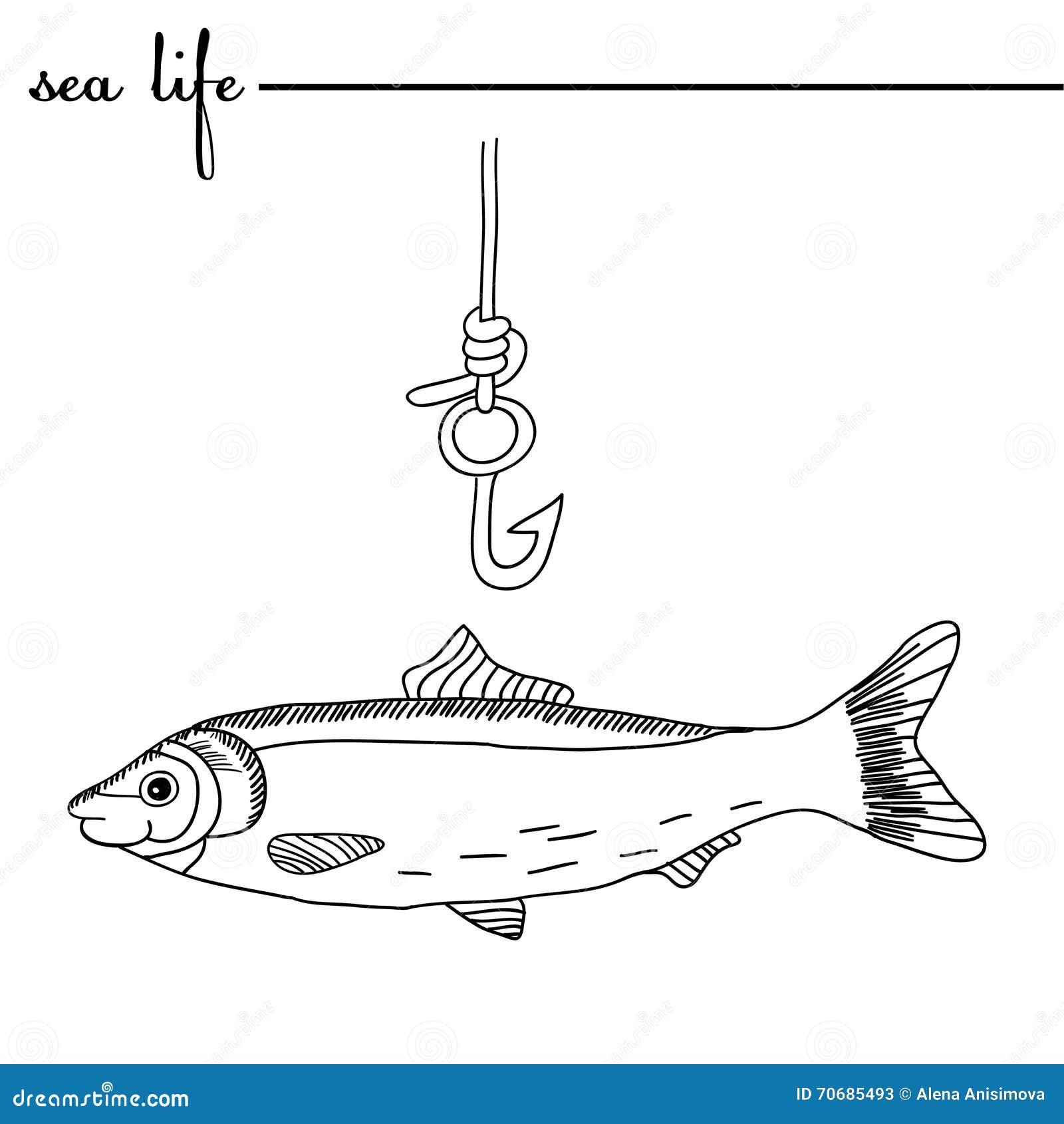 Durée de mer Les harengs et l hameçon Illustration tirée par la main de griffonnage original contours