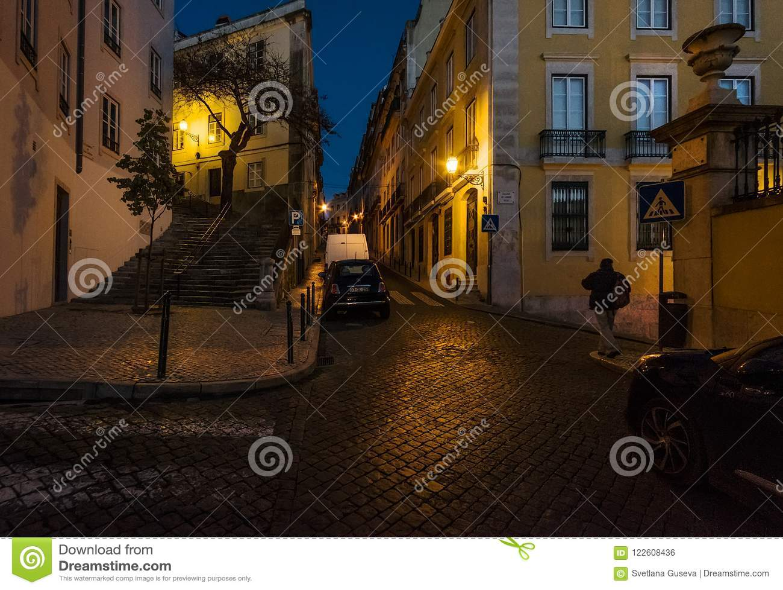 Durante a noite em Lisboa portugal