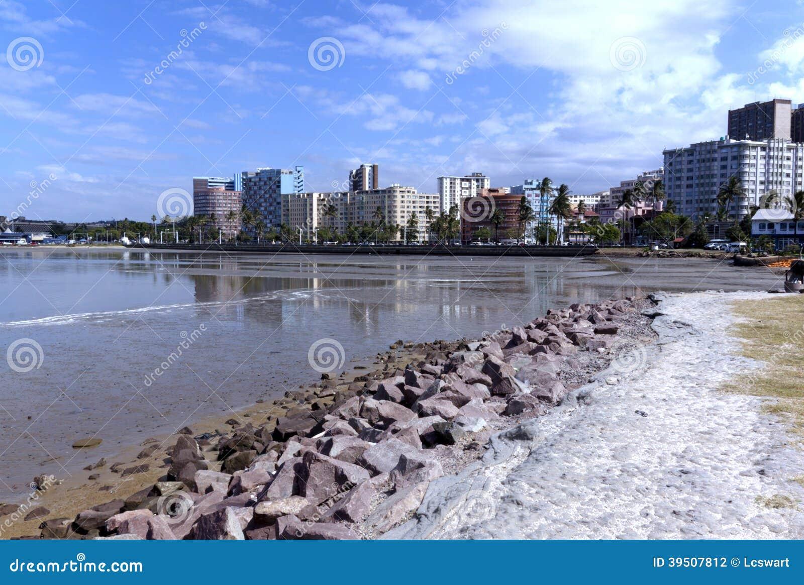 Durban Harbor with Residential Buildings on Esplanade in Backgro