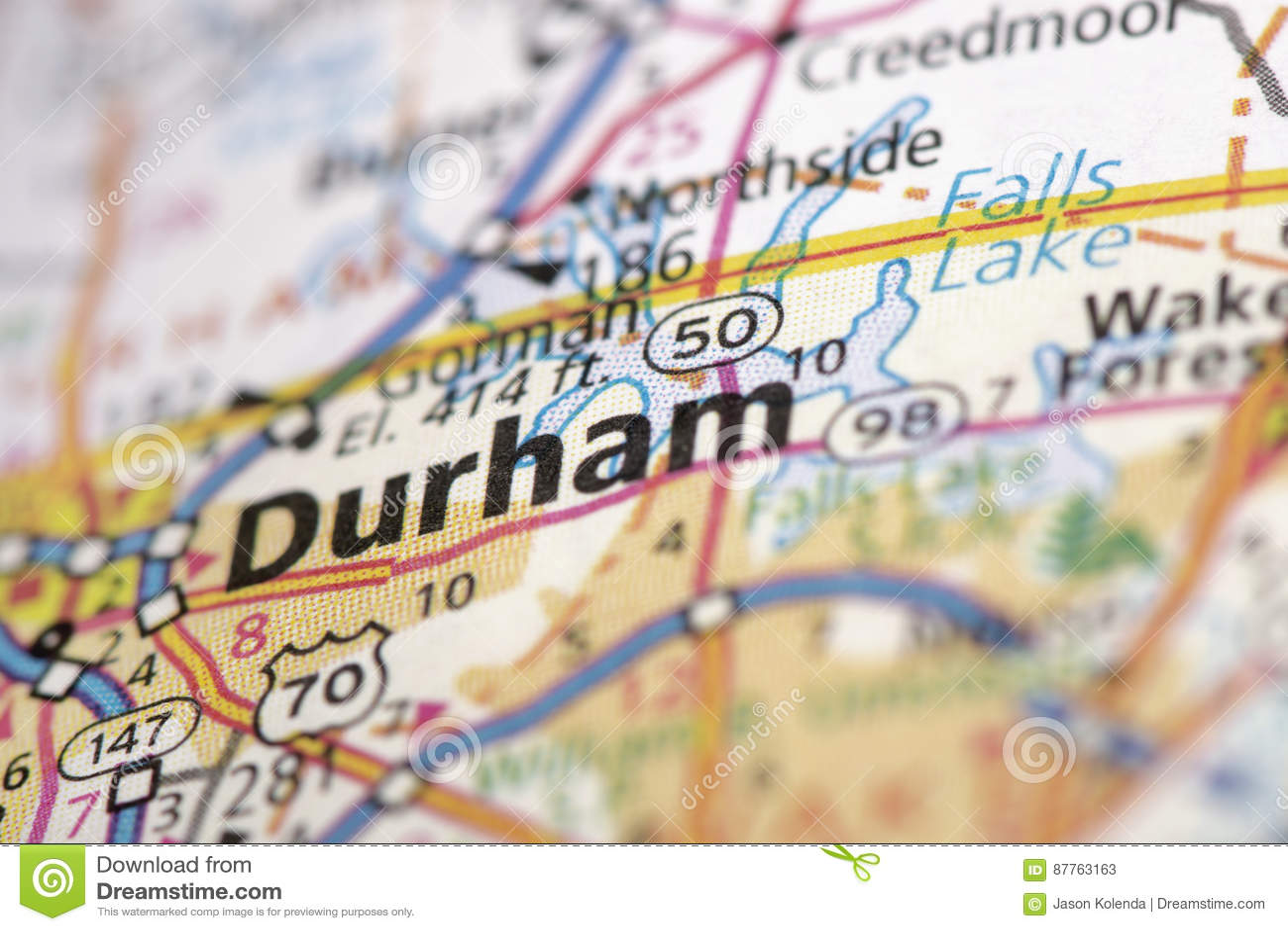Durham, North Carolina auf Karte