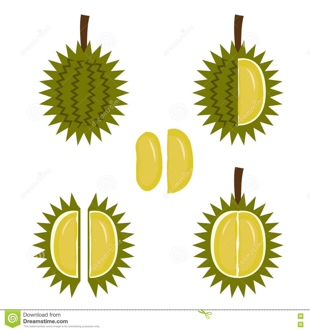 Durian Fruit Icon In Flat Style Stock Vector Illustration Of Calories Durio 75062841