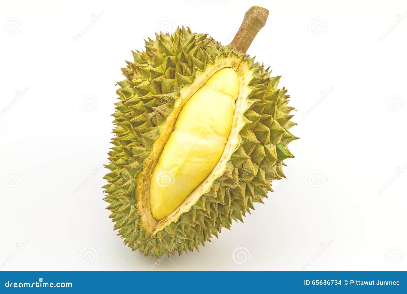 Durian mûr et partie avec des transitoires d isolement sur le fond blanc
