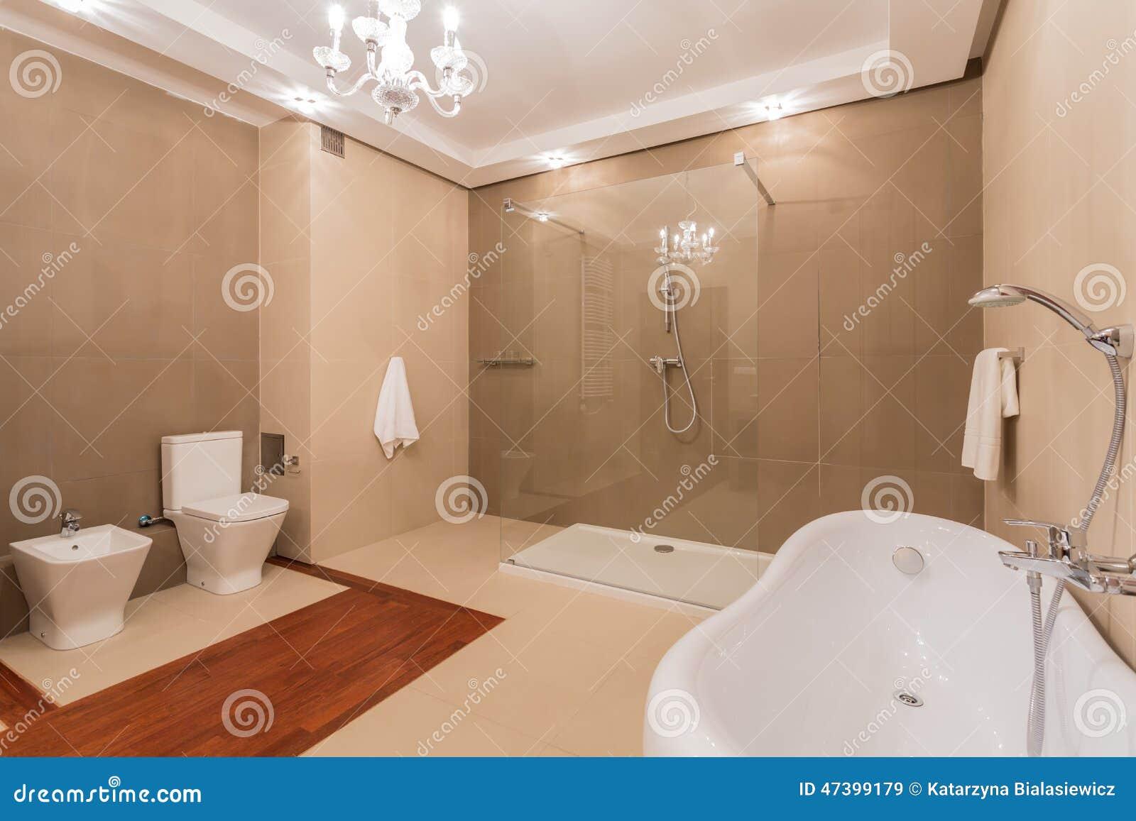 Dusche auf Wand stockbild. Bild von dekor, zeitgenössisch - 47399179