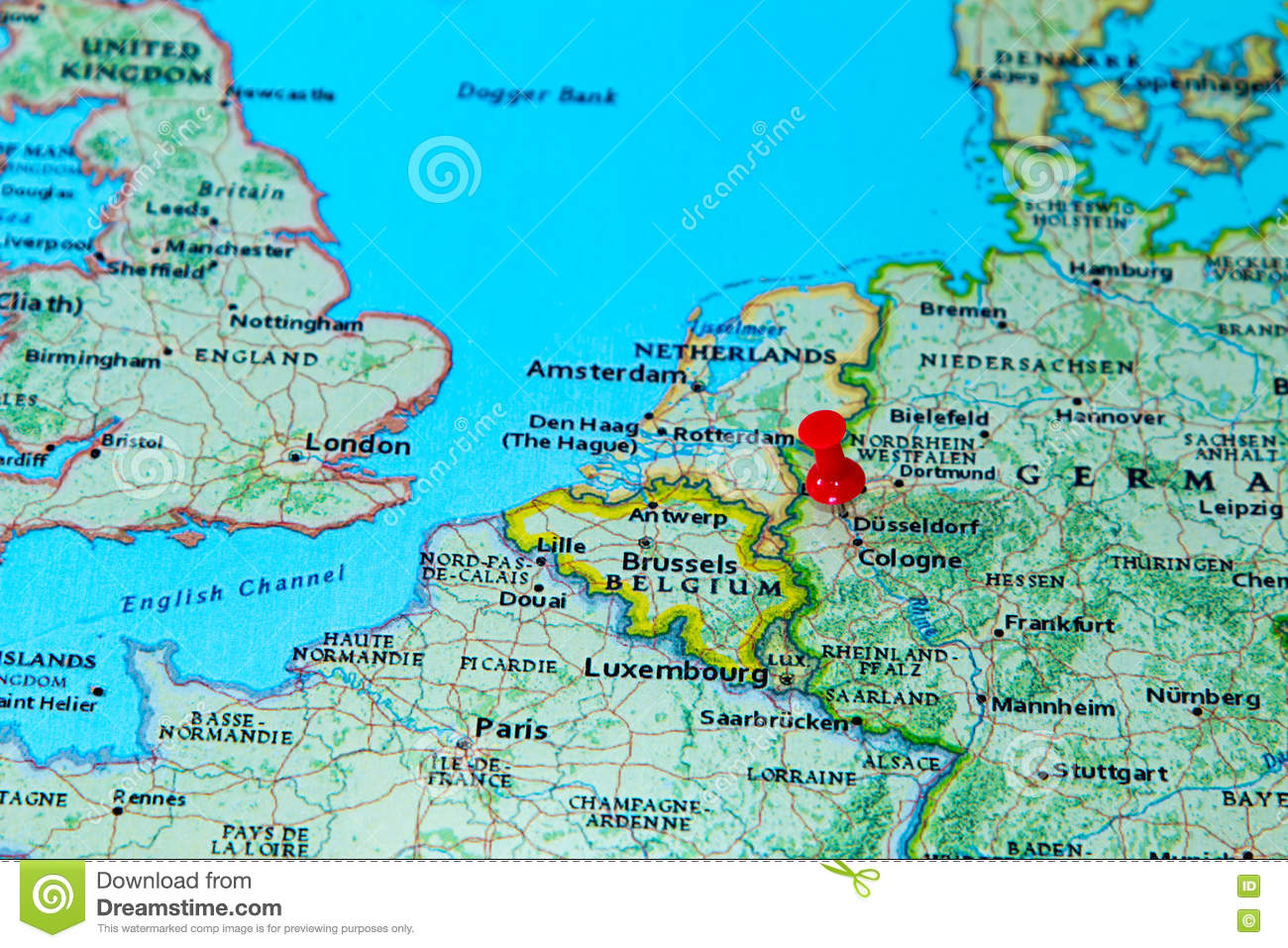 dizeldorf mapa Dusseldorf, Germany Pinned On A Map Of Europe Stock Image   Image  dizeldorf mapa