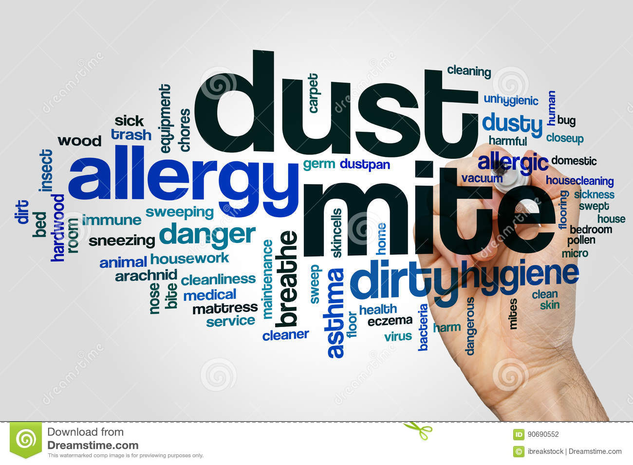 Dust mite word cloud concept on grey background
