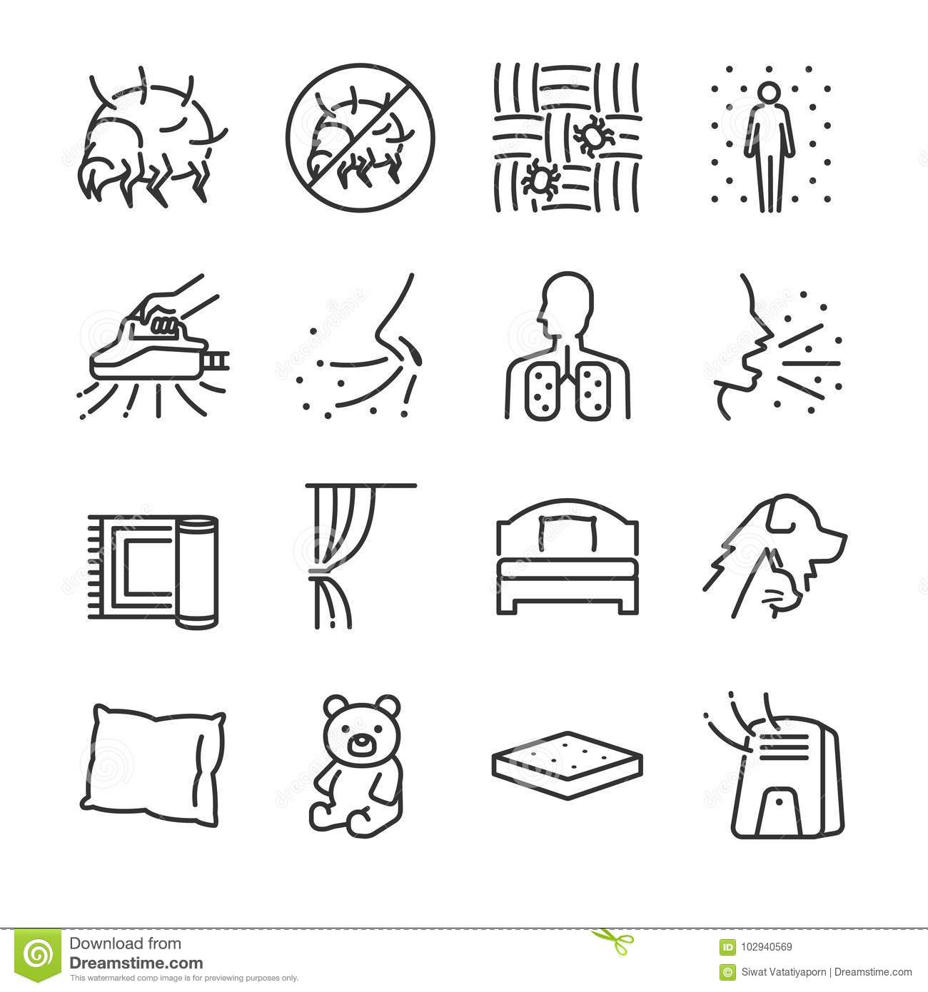 Dust mites line icon set. Included the icons as dust mites, flea, bed bugs, bedroom, bed, bugs killer and more.