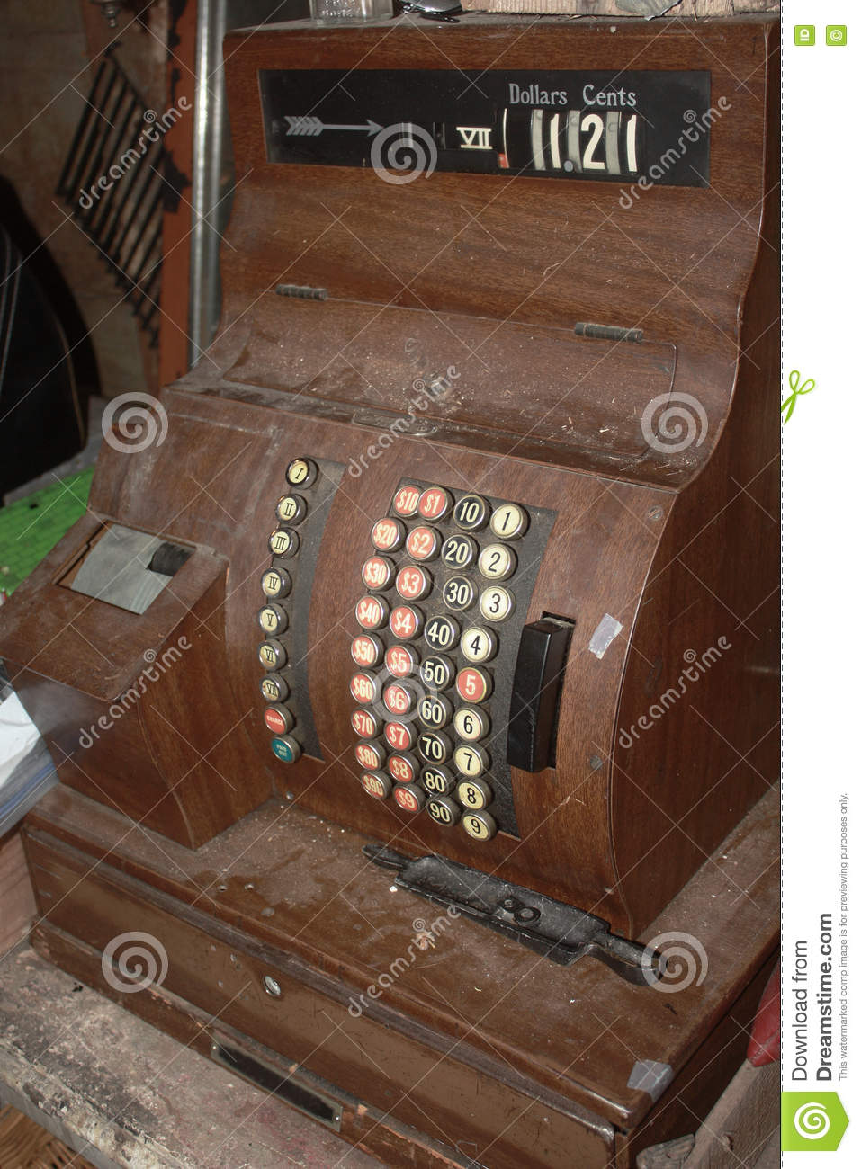 Dusty Antique Cash Register Stock Image Image Of Wood Vintage