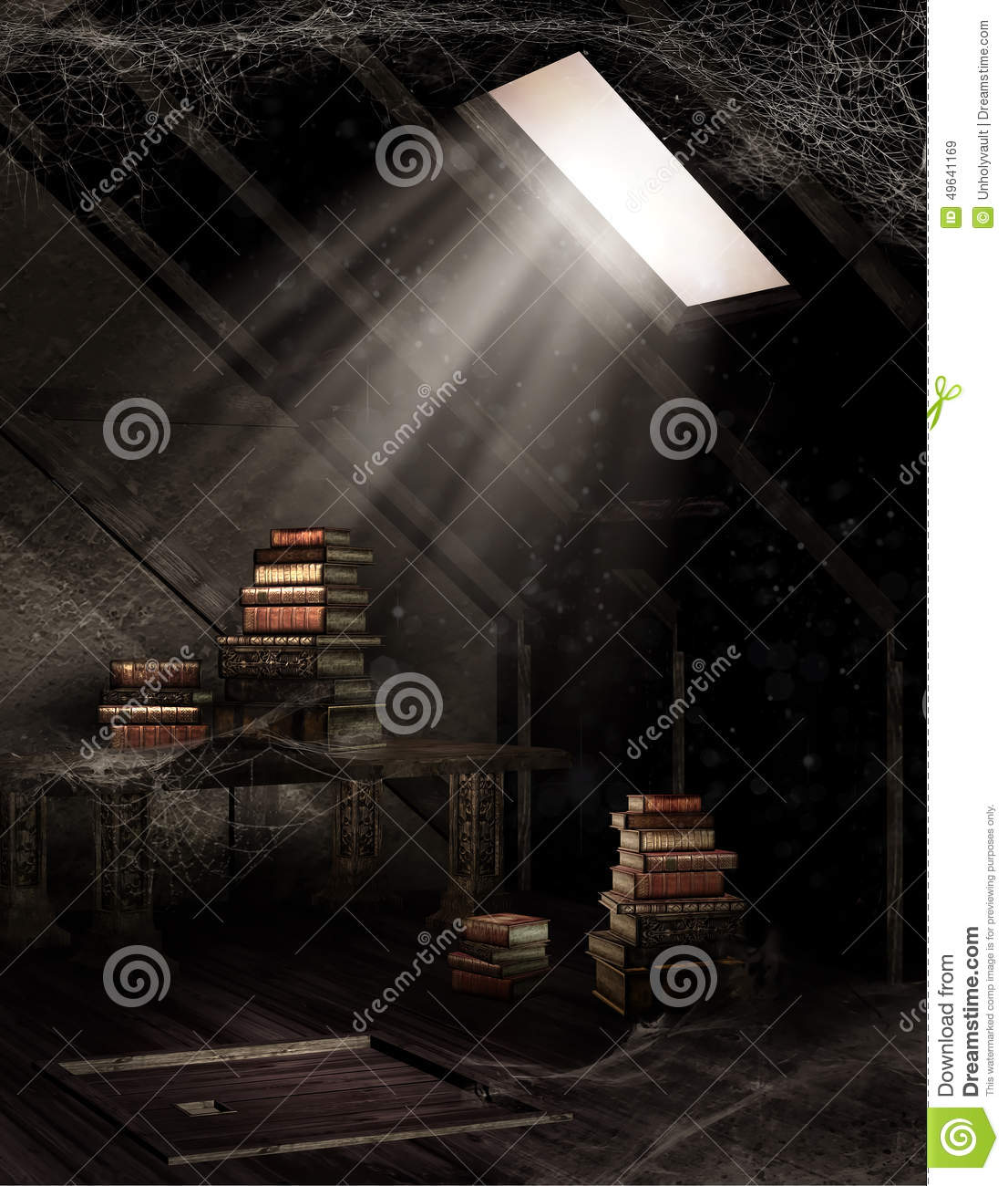 Dusty attic with books