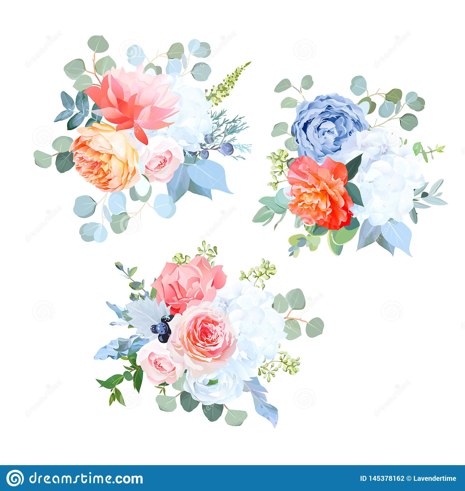 Dusty Blue Orange White Coral Pink Flowers Vector Wedding Bouquets Stock Vector Illustration Of Garden Bright 145378162