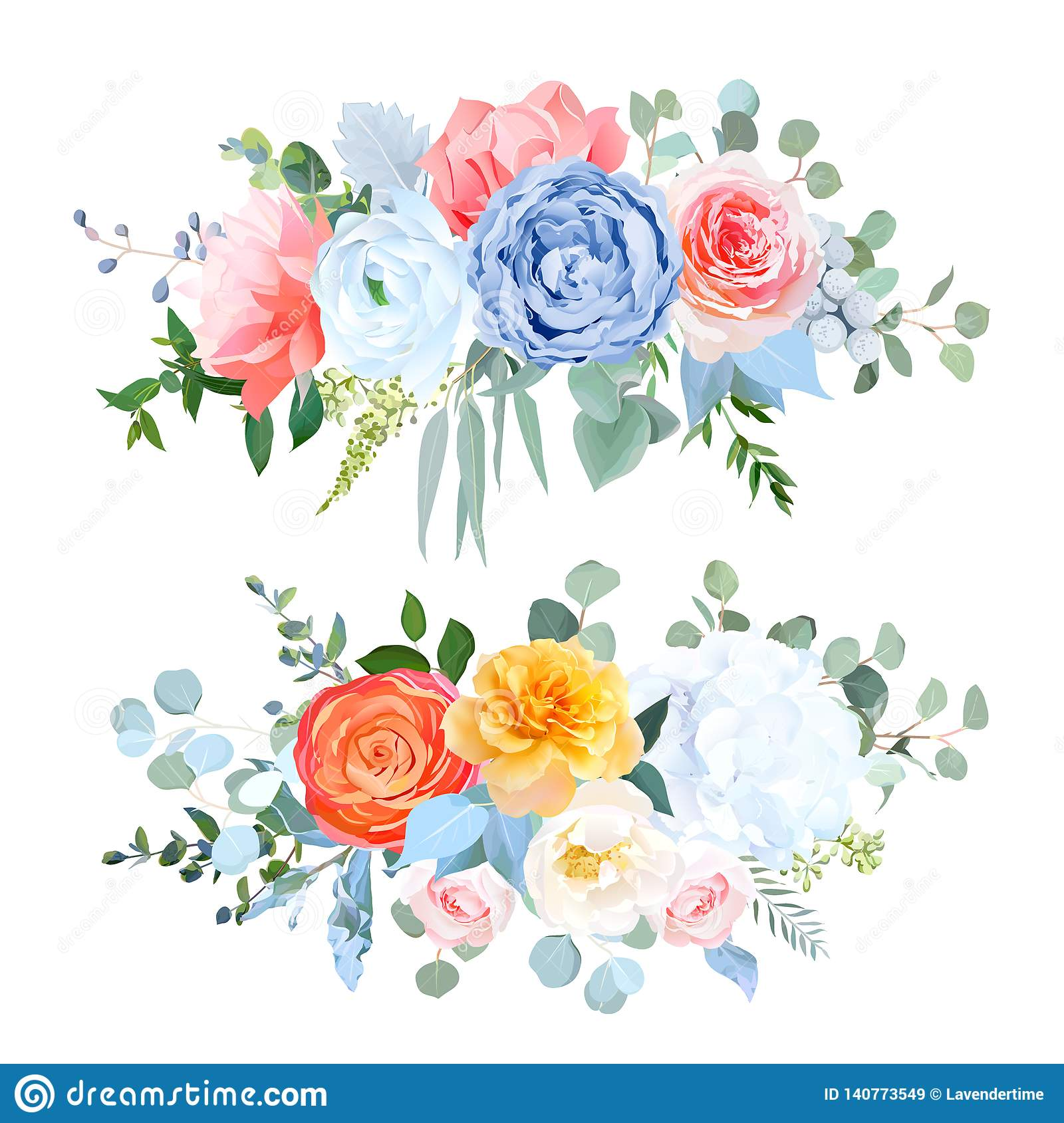 Dusty Blue Orange Yellow Coral Flowers Vector Wedding Bouquets Stock Vector Illustration Of Hydrangea Collection 140773549
