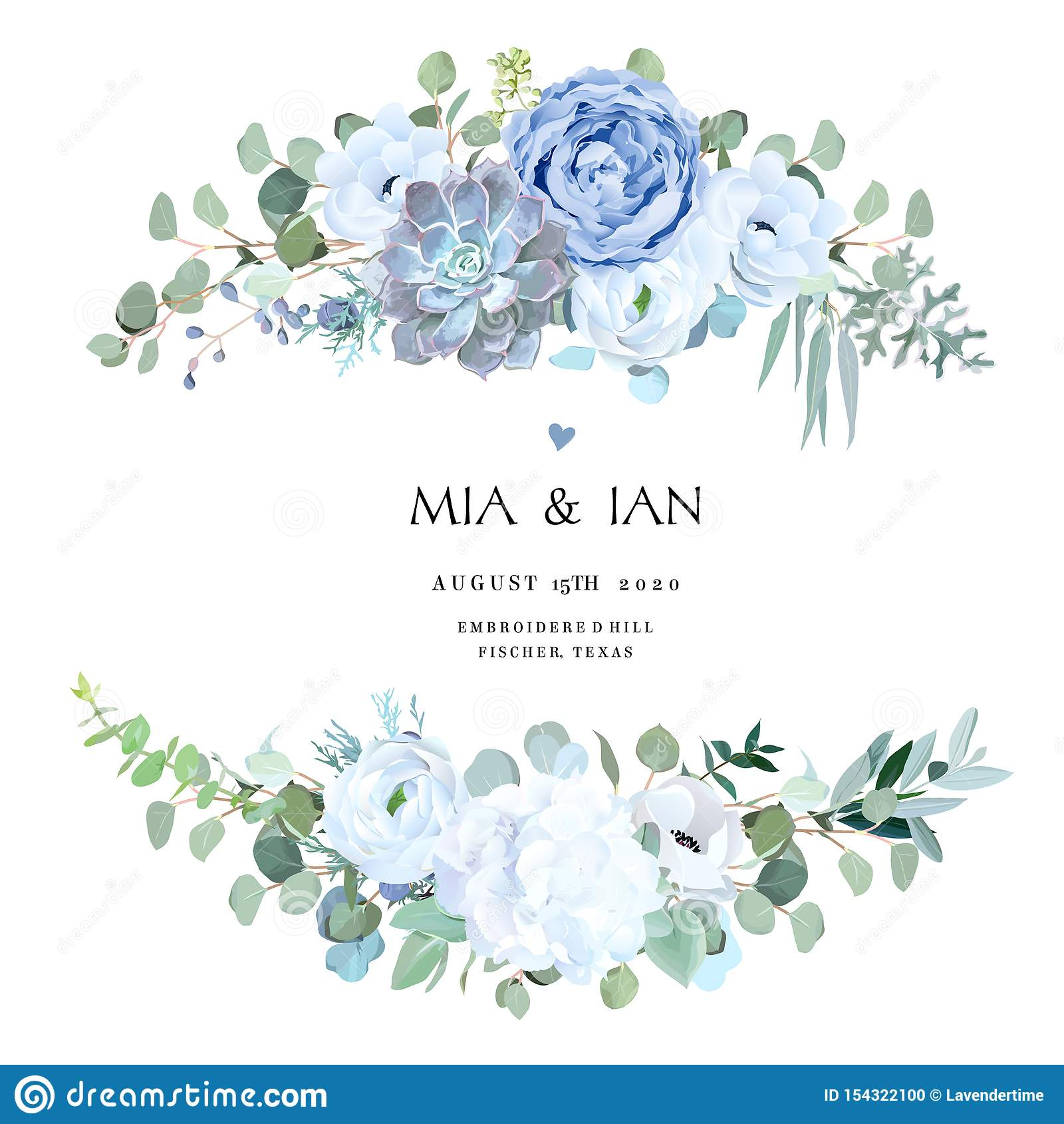 Dusty Blue Rose Echeveria Succulent White Hydrangea Ranunculus Anemone Stock Vector Illustration Of Hydrangea Horizontal 154322100