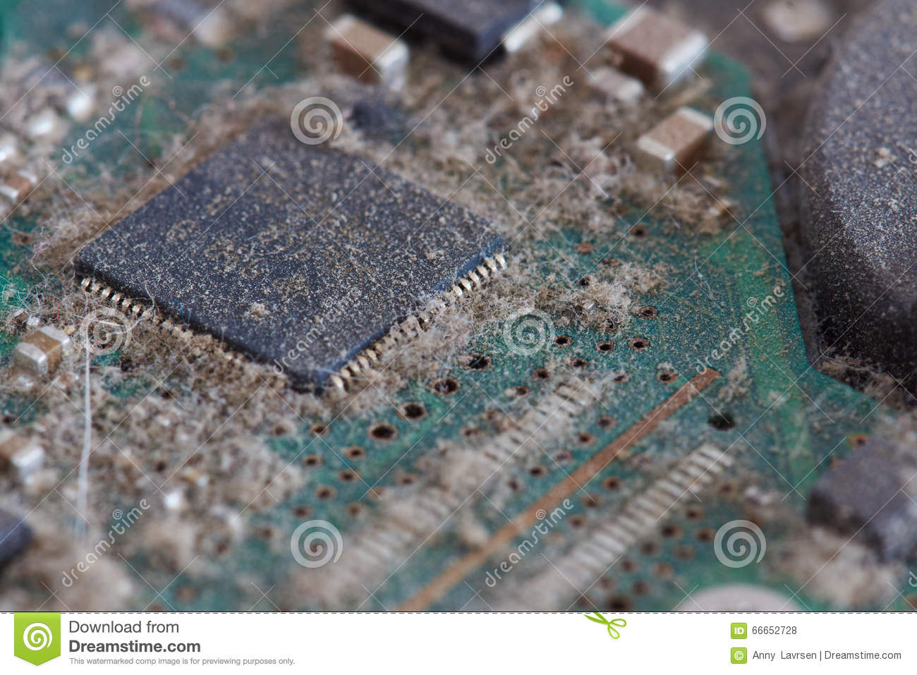 Dusty Circuit Board From Hard Drives Series Of Computer Parts