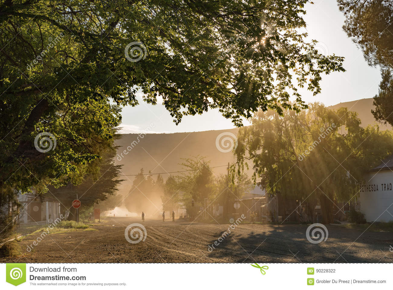 village scene early in the morning