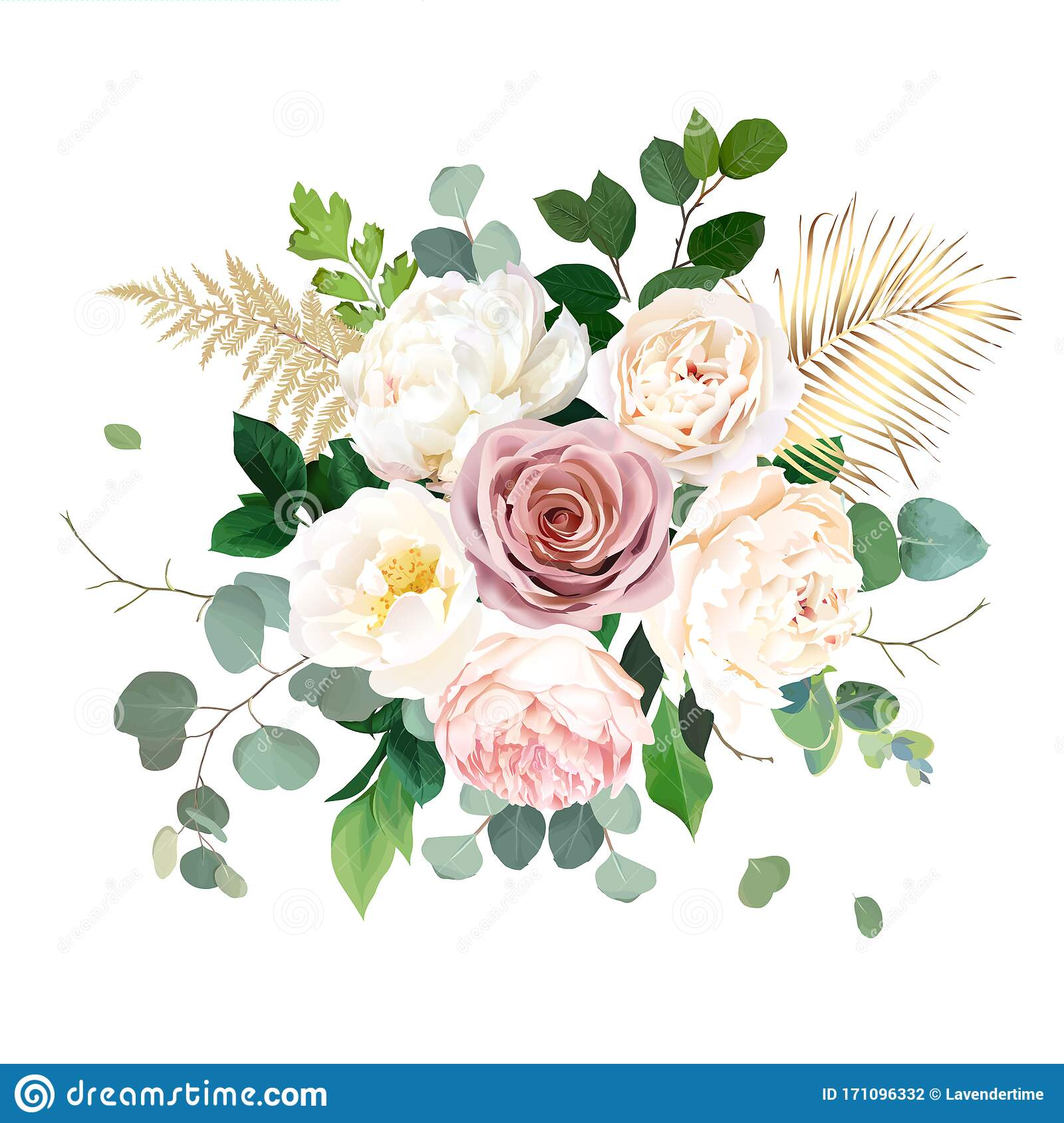 Dusty Pink Blush White And Creamy Rose Flowers Vector Design Wedding Bouquet Stock Vector Illustration Of Celebration Object 171096332