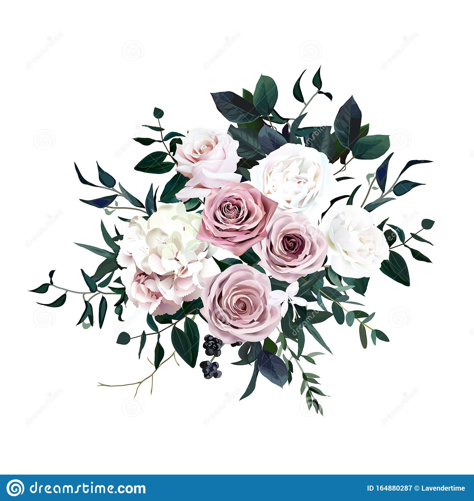 Dusty Pink Pastel White Flowers Glamour Vector Design Wedding Bouquet Stock Vector Illustration Of Dark Bunch 164880287