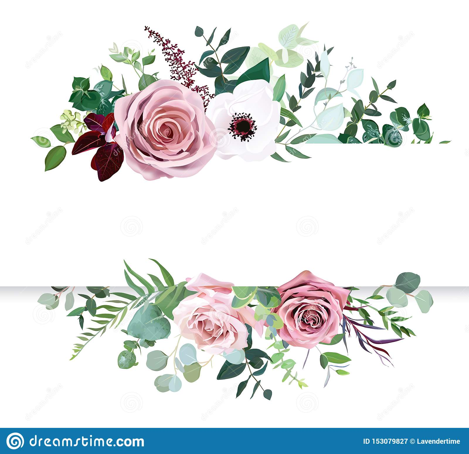 Dusty pink rose, pale flowers, white anemone horizontal botanical vector design banner