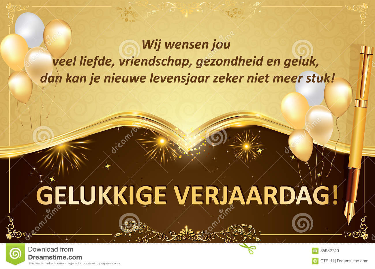 Dutch Birthday Greeting Card Also For Print Stock Illustration