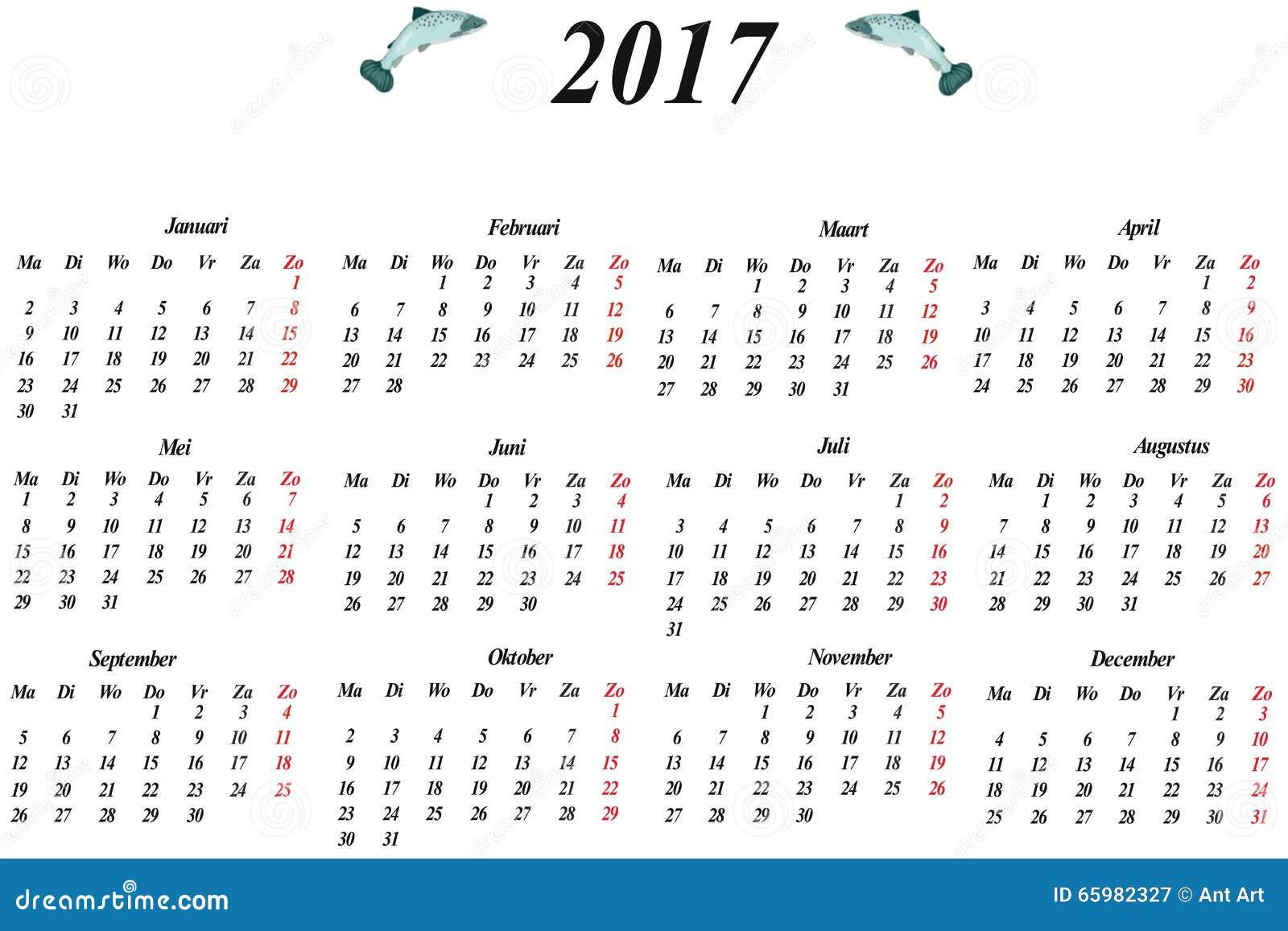 Dutch Calendar Stock Illustration - Image: 65982327