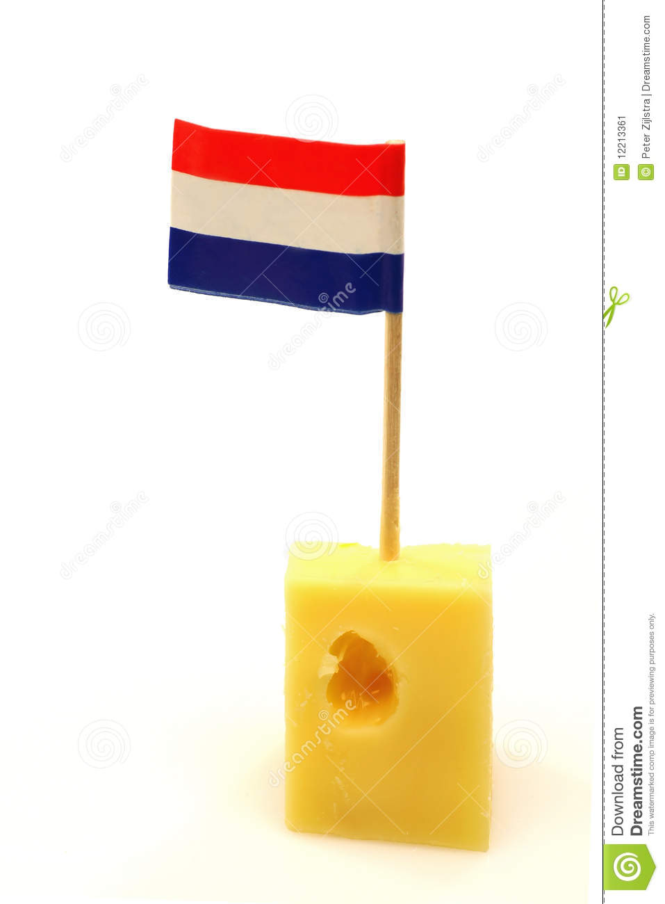 dutch cheese with a little dutch flag stock image