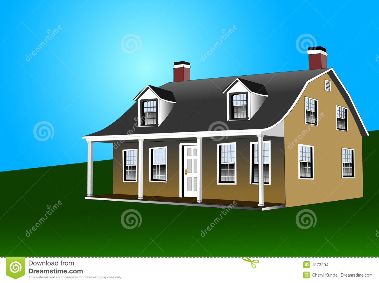 Dutch Colonial Style House Stock Images Image 1873304