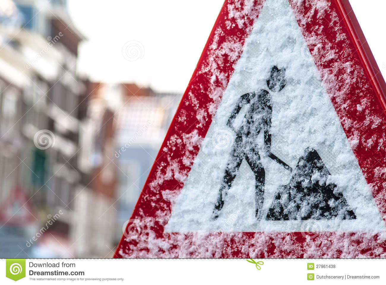 dutch construction road sign in winter royalty free stock