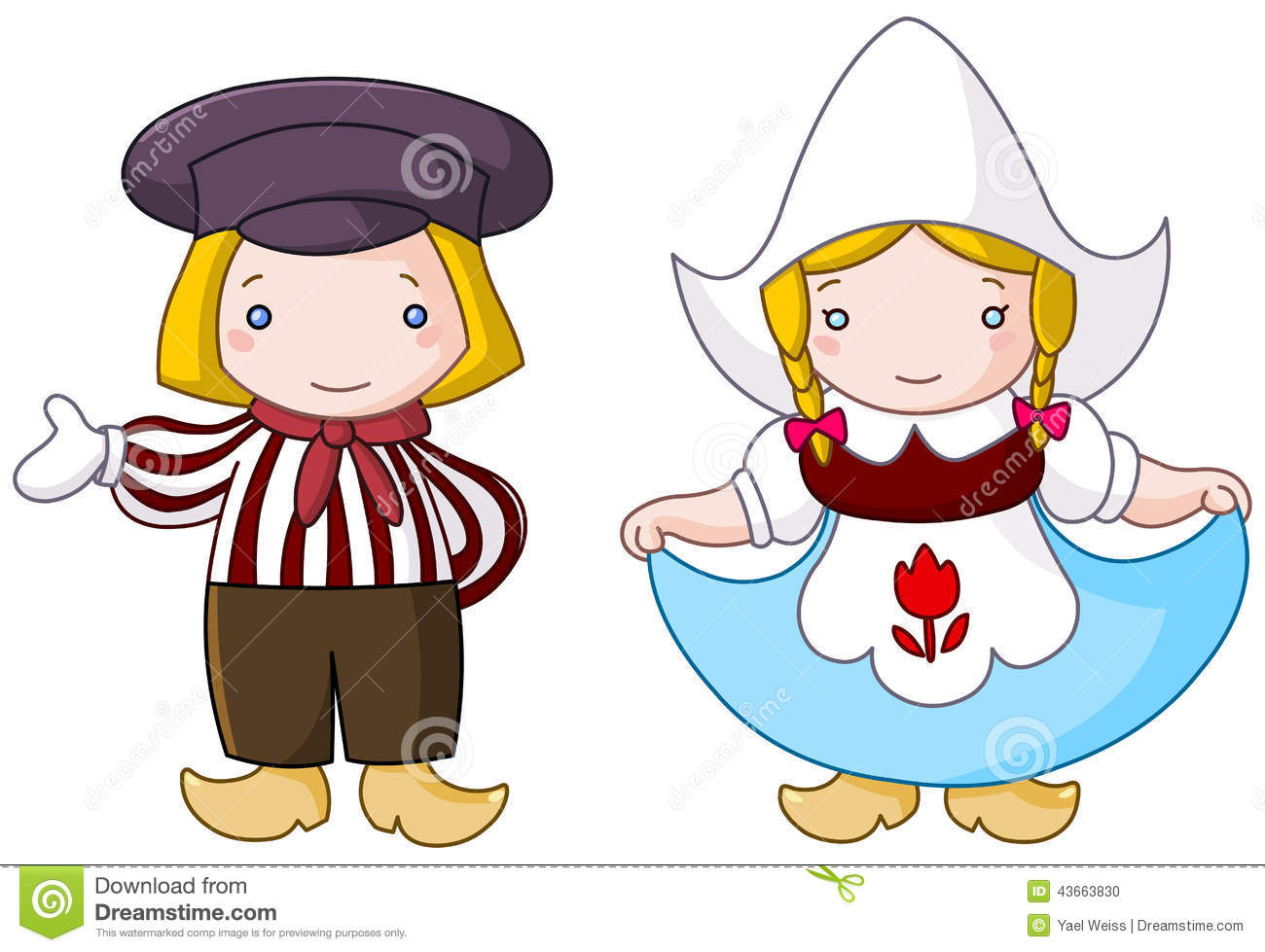 Illustration of a traditional Dutch couple cartoon.