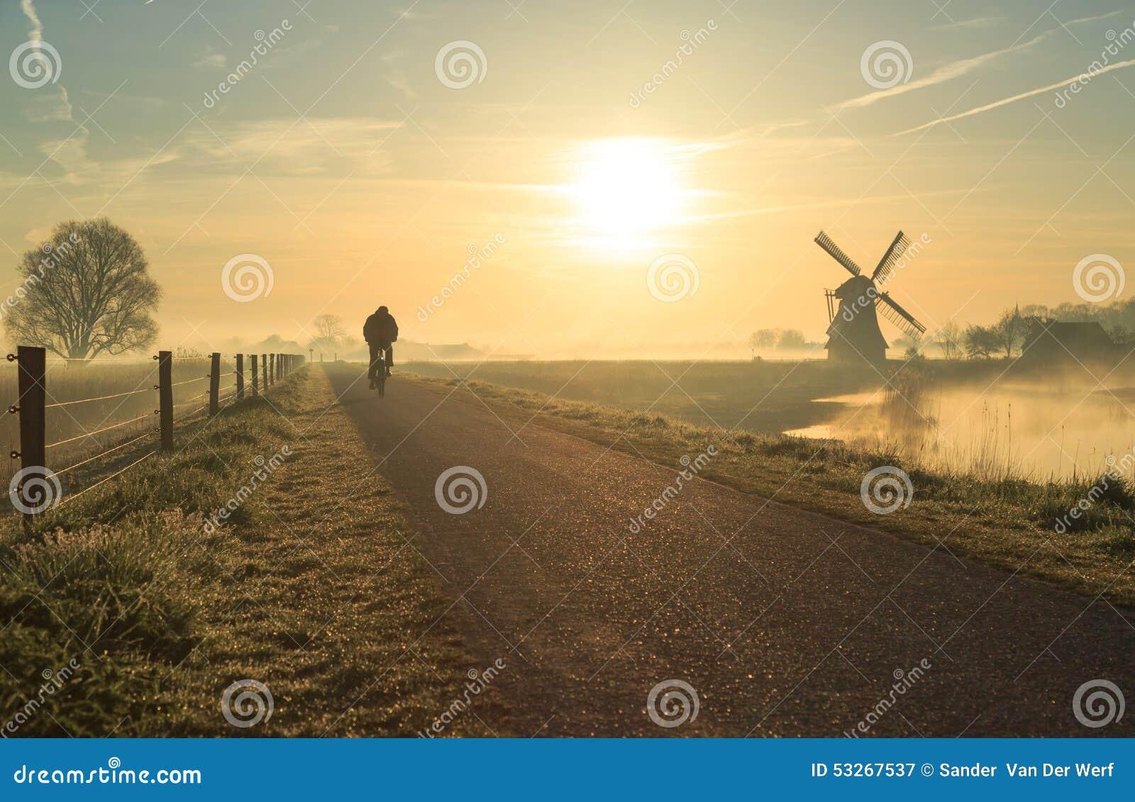 Dutch Cyclist Stock Photo