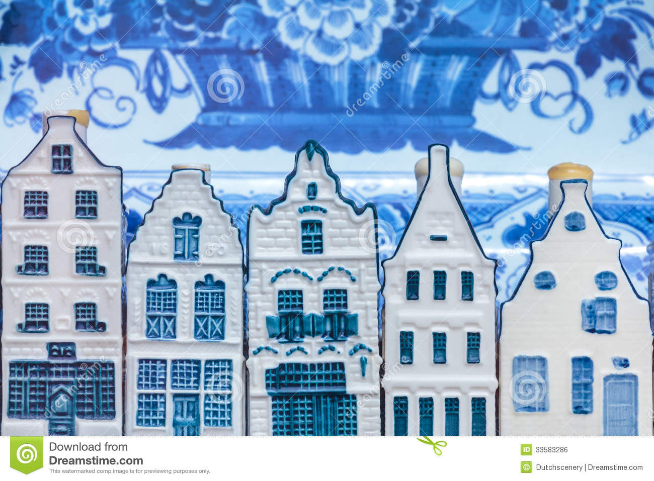 Dutch Delft Blue Souvenir Houses In Front Of An Old Plate Royalty Free ...
