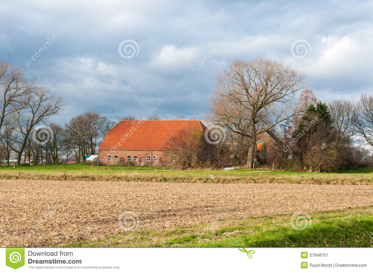 Dutch farm in a colorful autumnal landscape stock image for Farm house netherlands