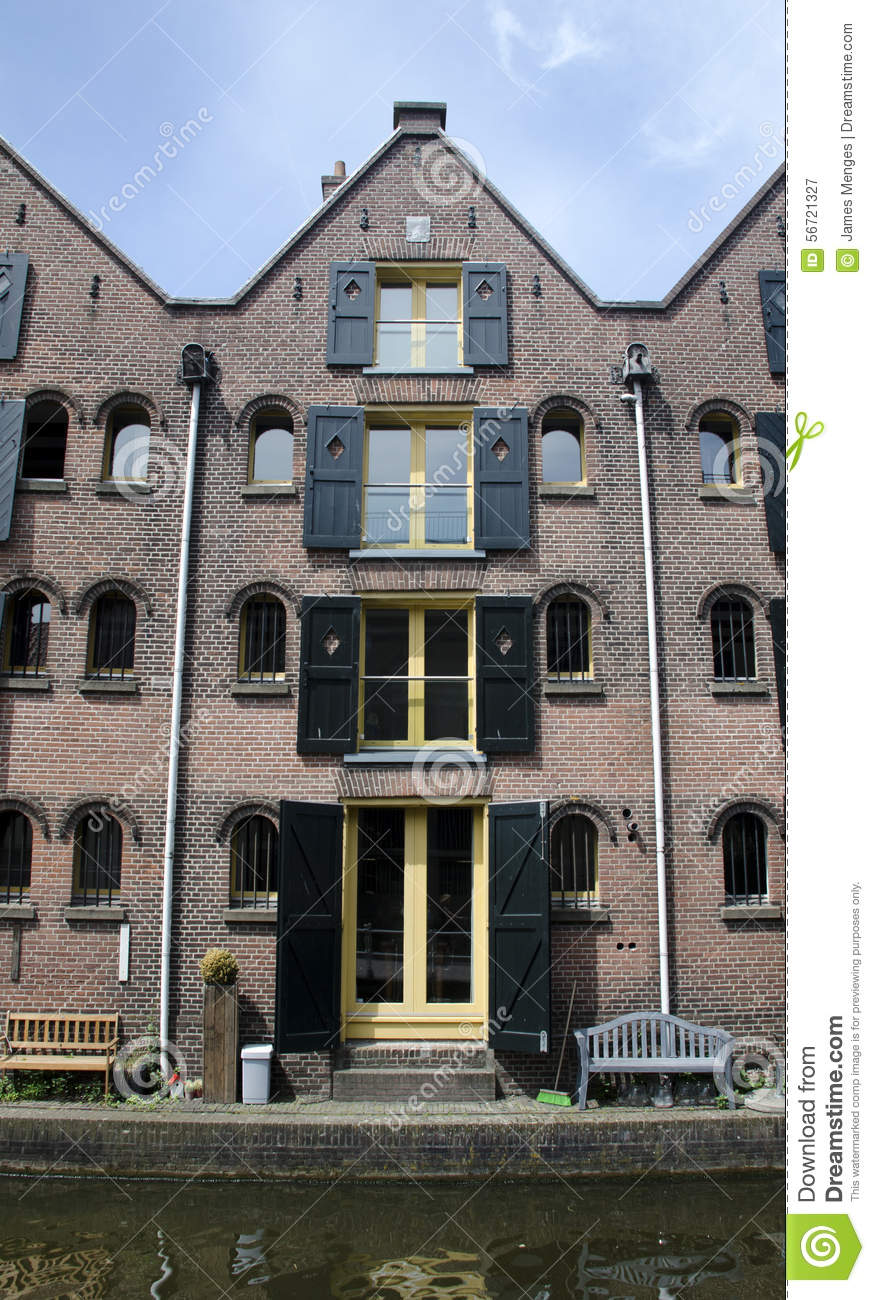 Dutch Four Story Canal House Editorial Photography Image