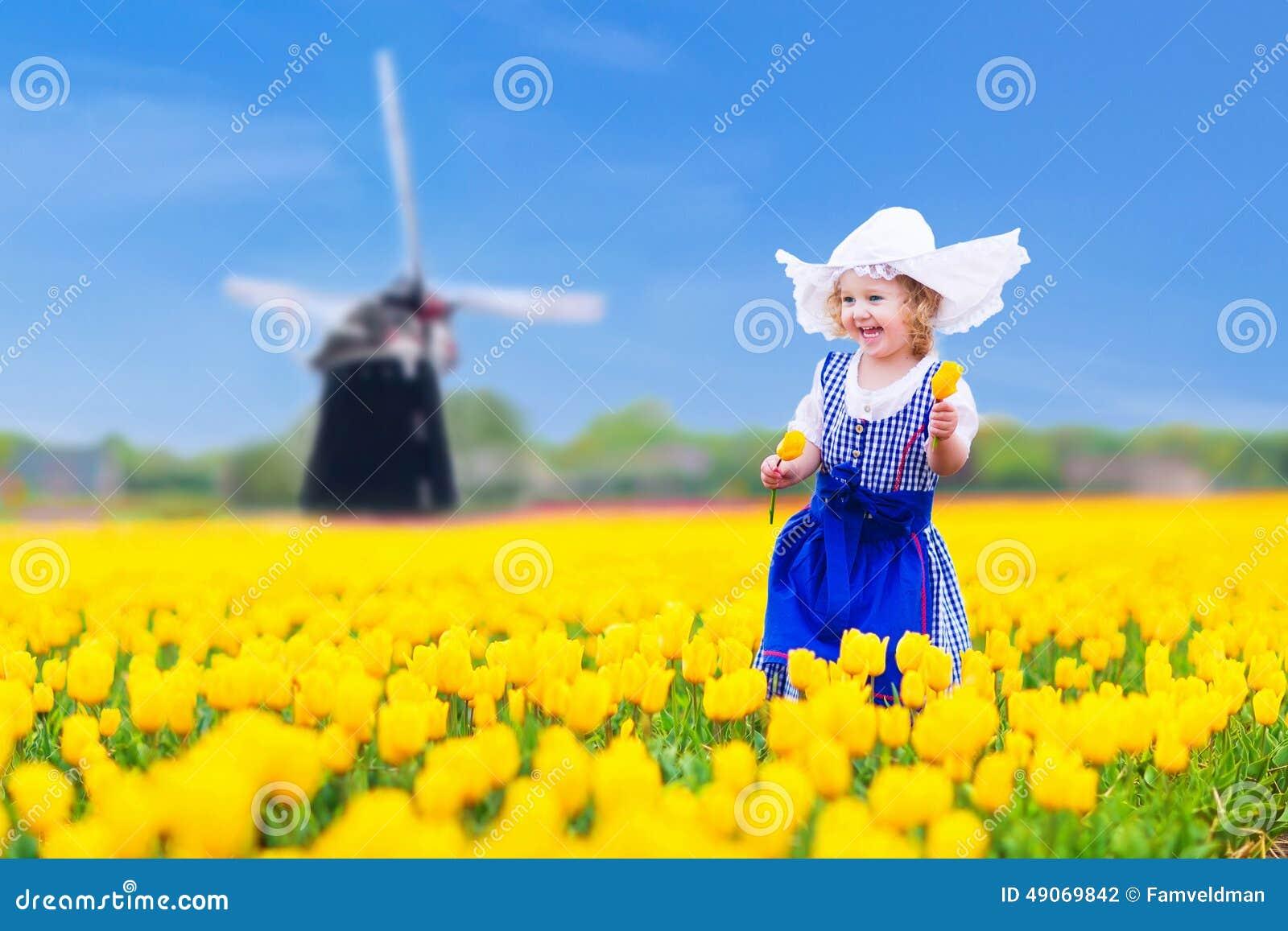Dutch Girl Tulip Field Holland