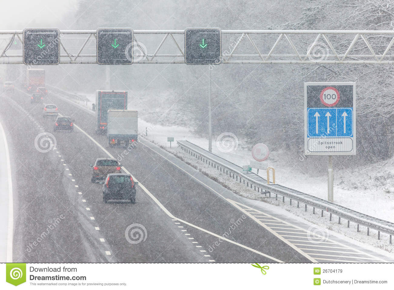 Dutch highway during winter snow
