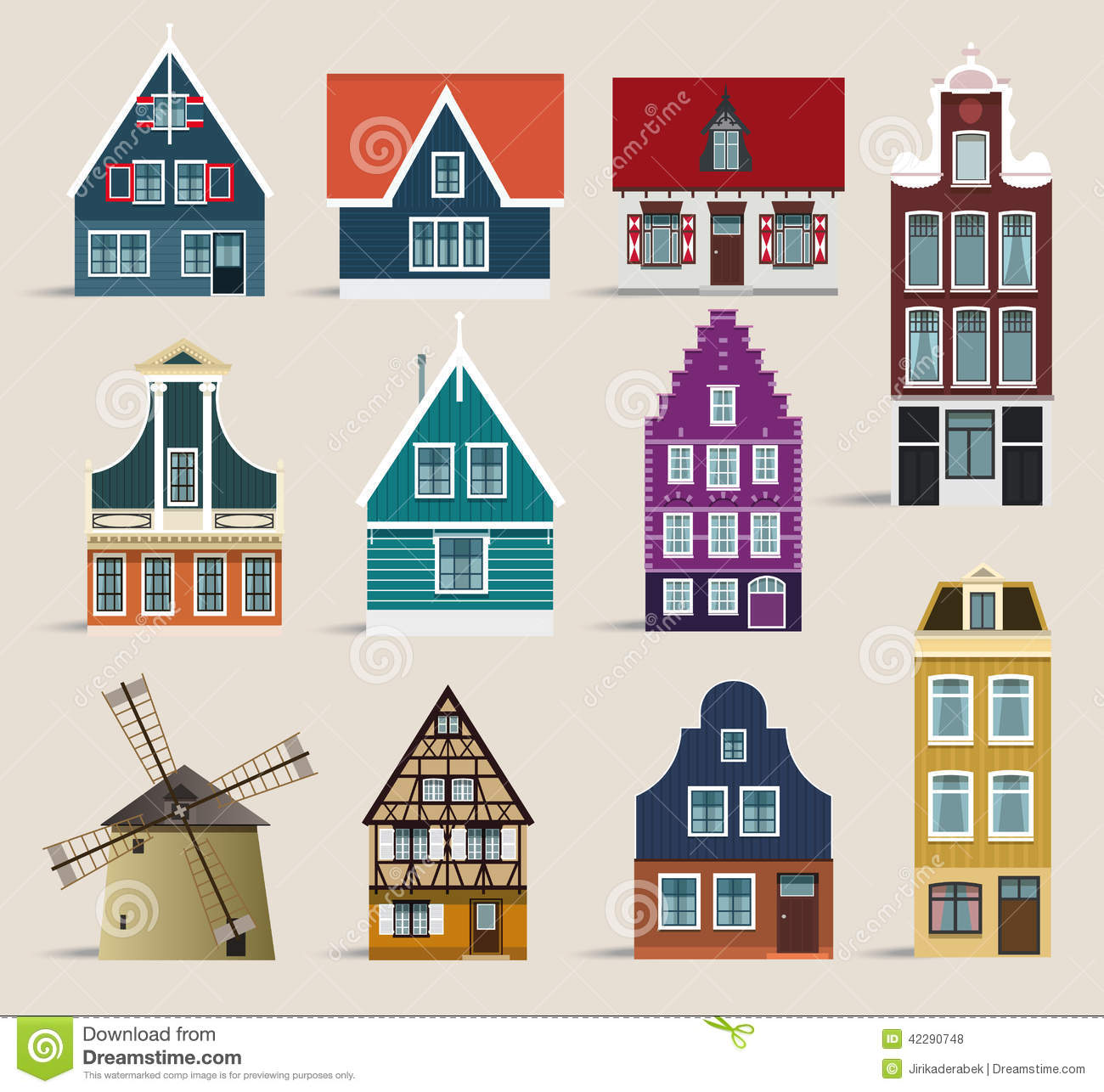 Dutch houses stock vector image of isolated illustration for Classic dutch house of 60m2