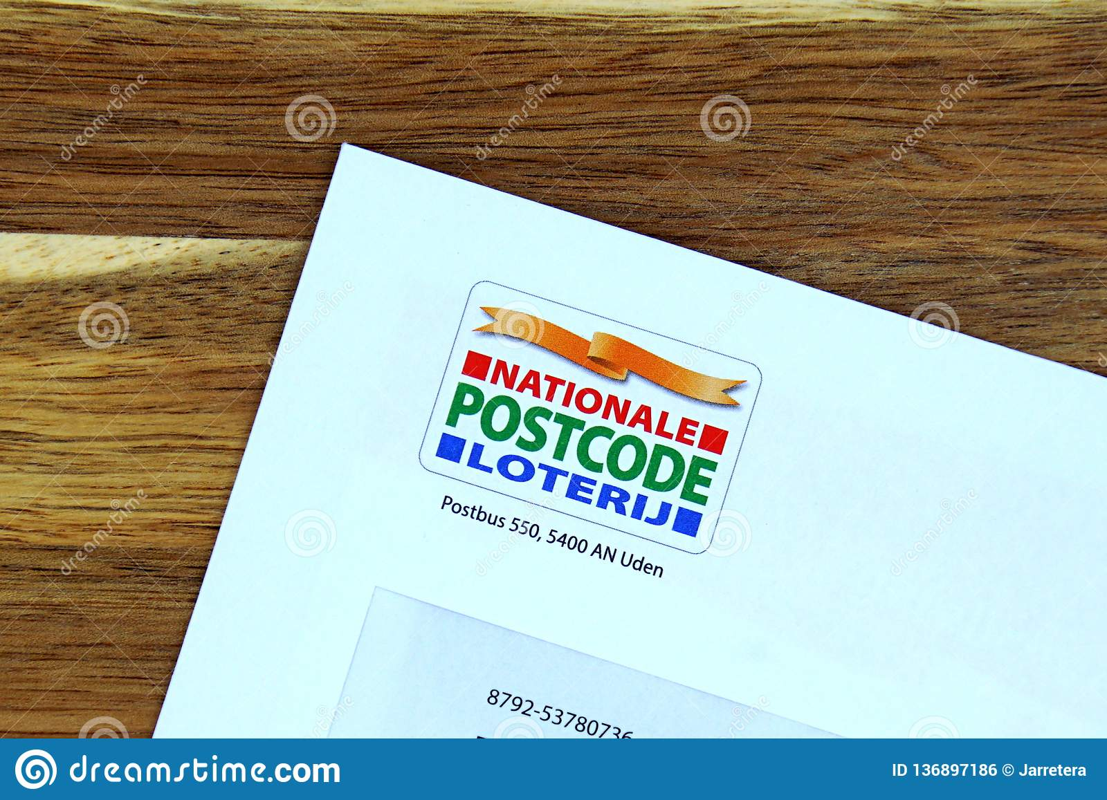 Dutch Lottery Postcode Loterij On A Envelope Editorial Photo Image