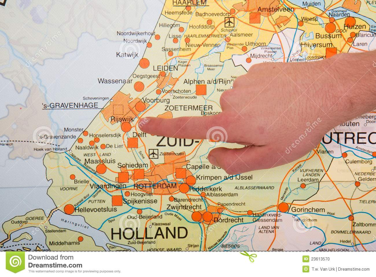 Dutch Map With Hand Pointing To City The Hague Stock Photo - Image on