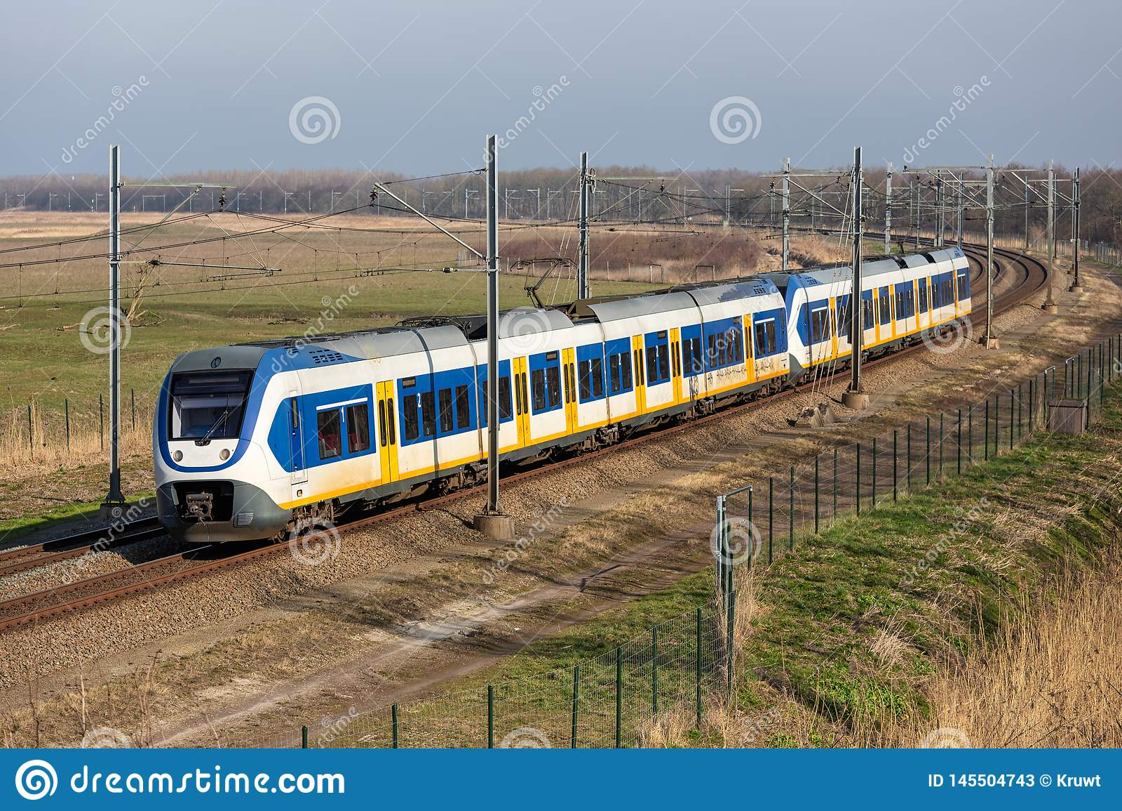 Dutch railway through National Park Oostvaardersplassen near Almere and Lelystad