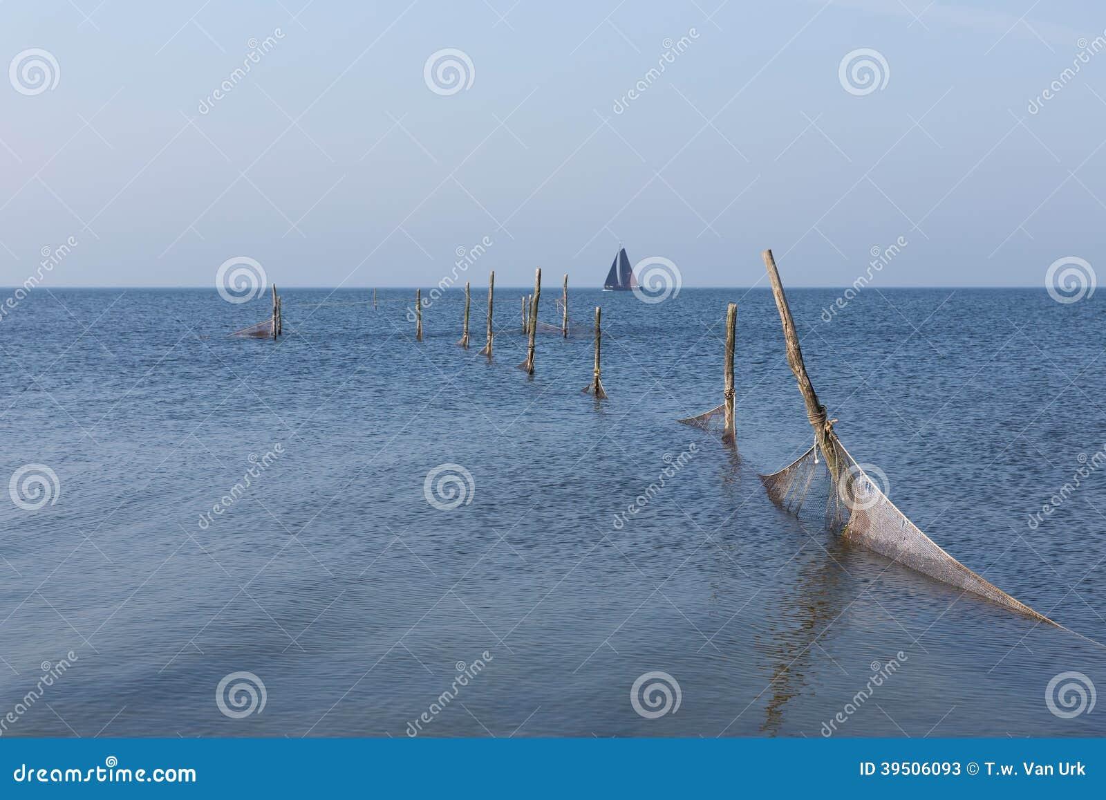 Dutch sea with fishing nets