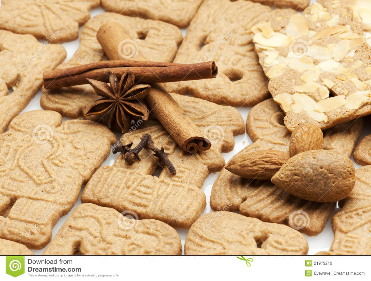 Traditional dutch speculaas cookies and spices.