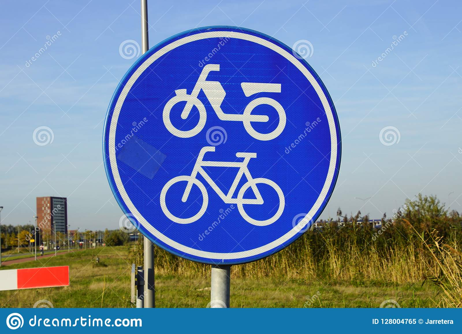 Dutch Traffic Road Sign For Moped And Bicycle Path Stock Image