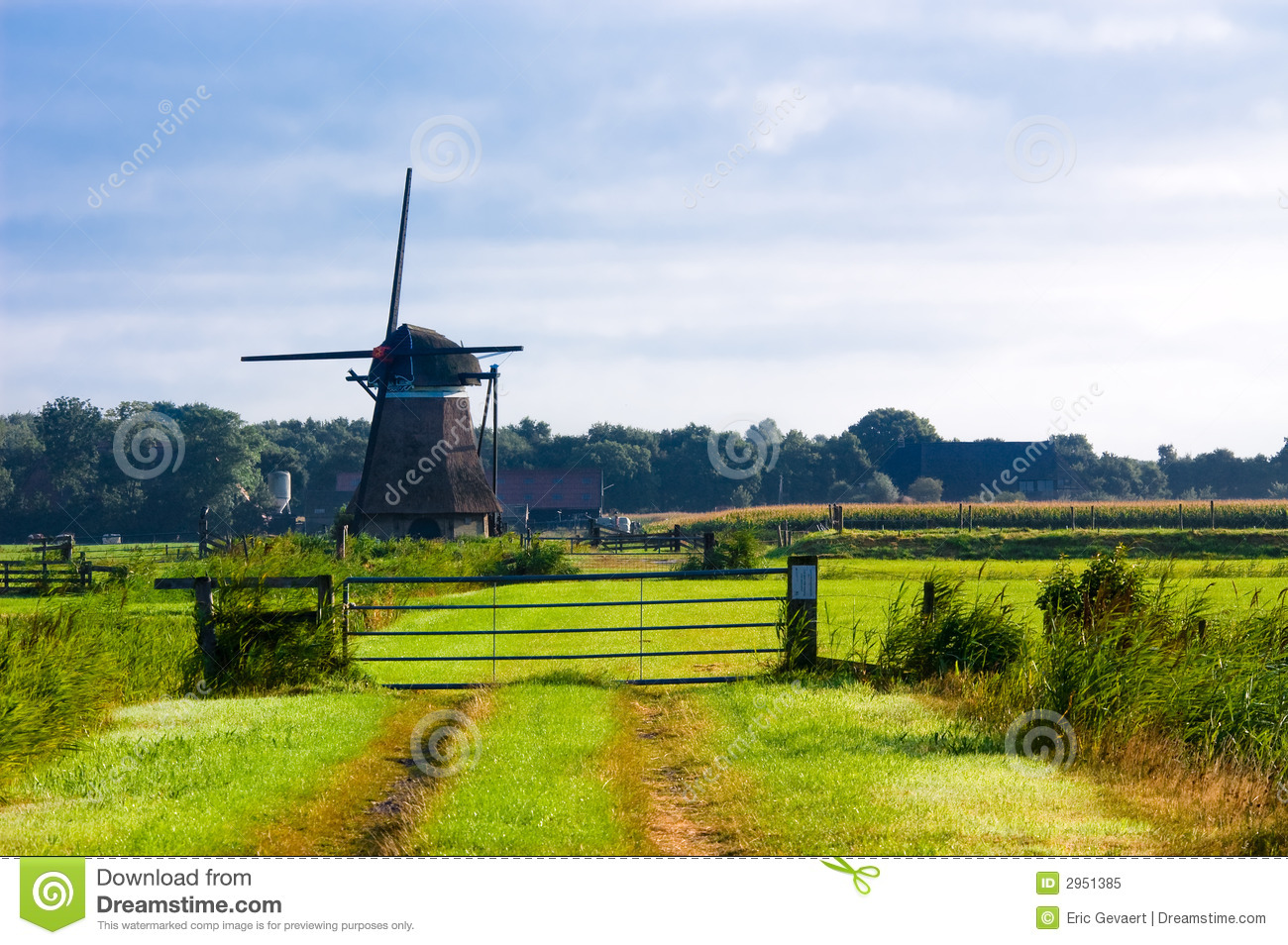 Dutch Windmill Landscape Royalty Free Stock Photo - Image ...