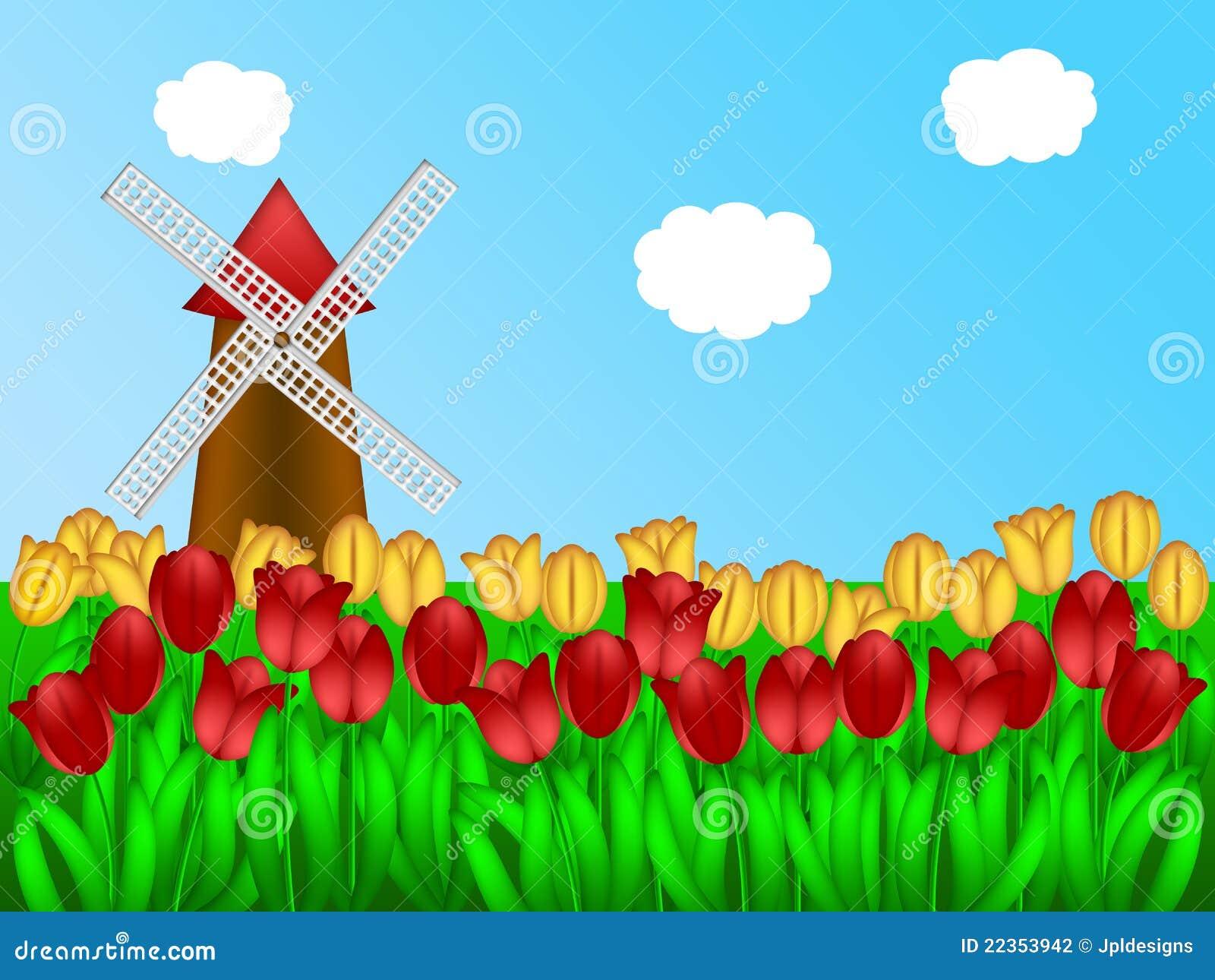 Dutch Windmill In Tulips Field Farm Illustration Stock