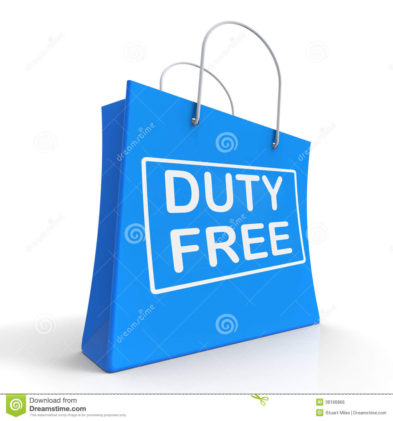 Duty Free On Shopping Bags Shows Tax Free Purchases Royalty Free ...