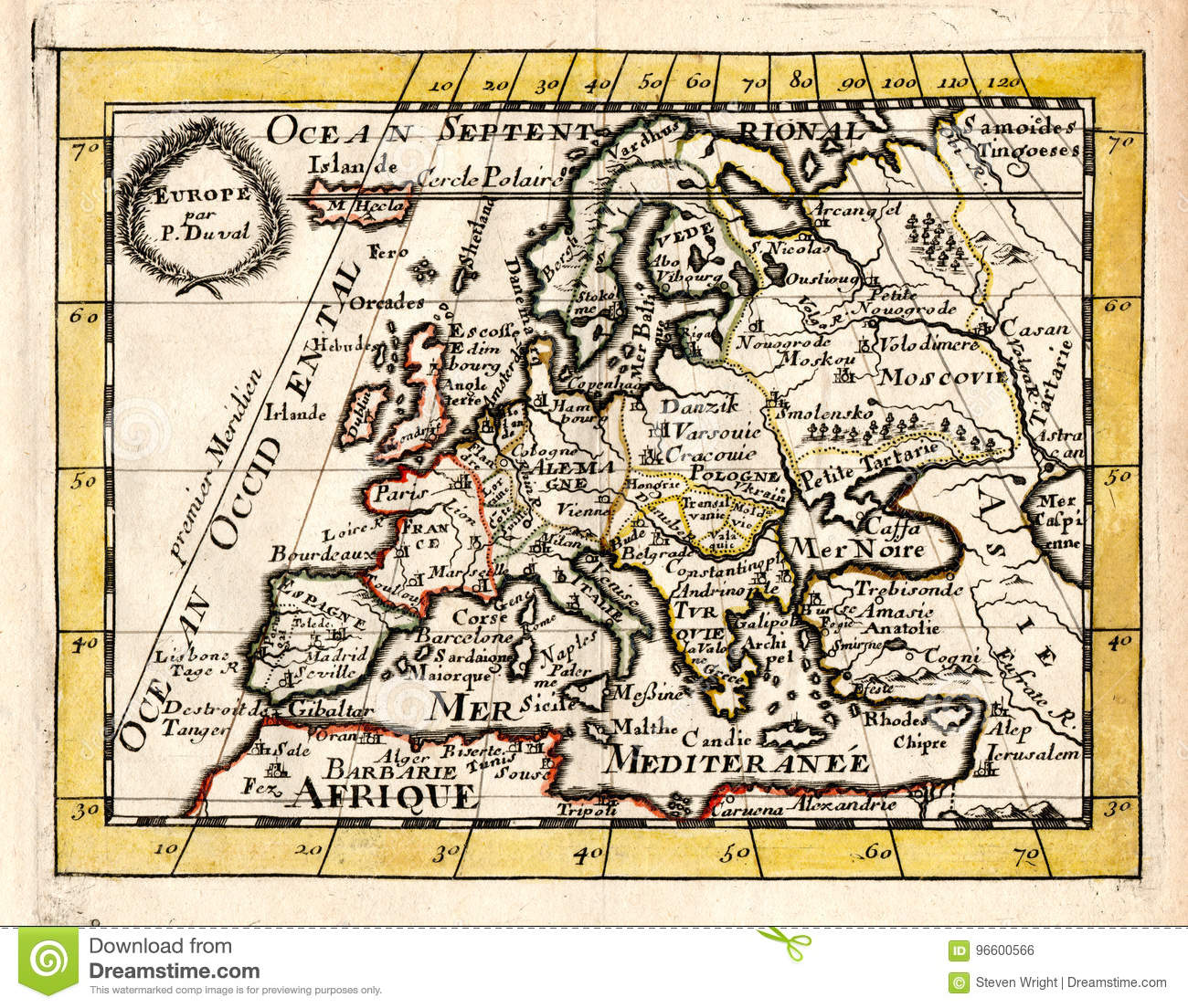 1663 Duval Antique Map Of Europe Stock Illustration - Illustration ...