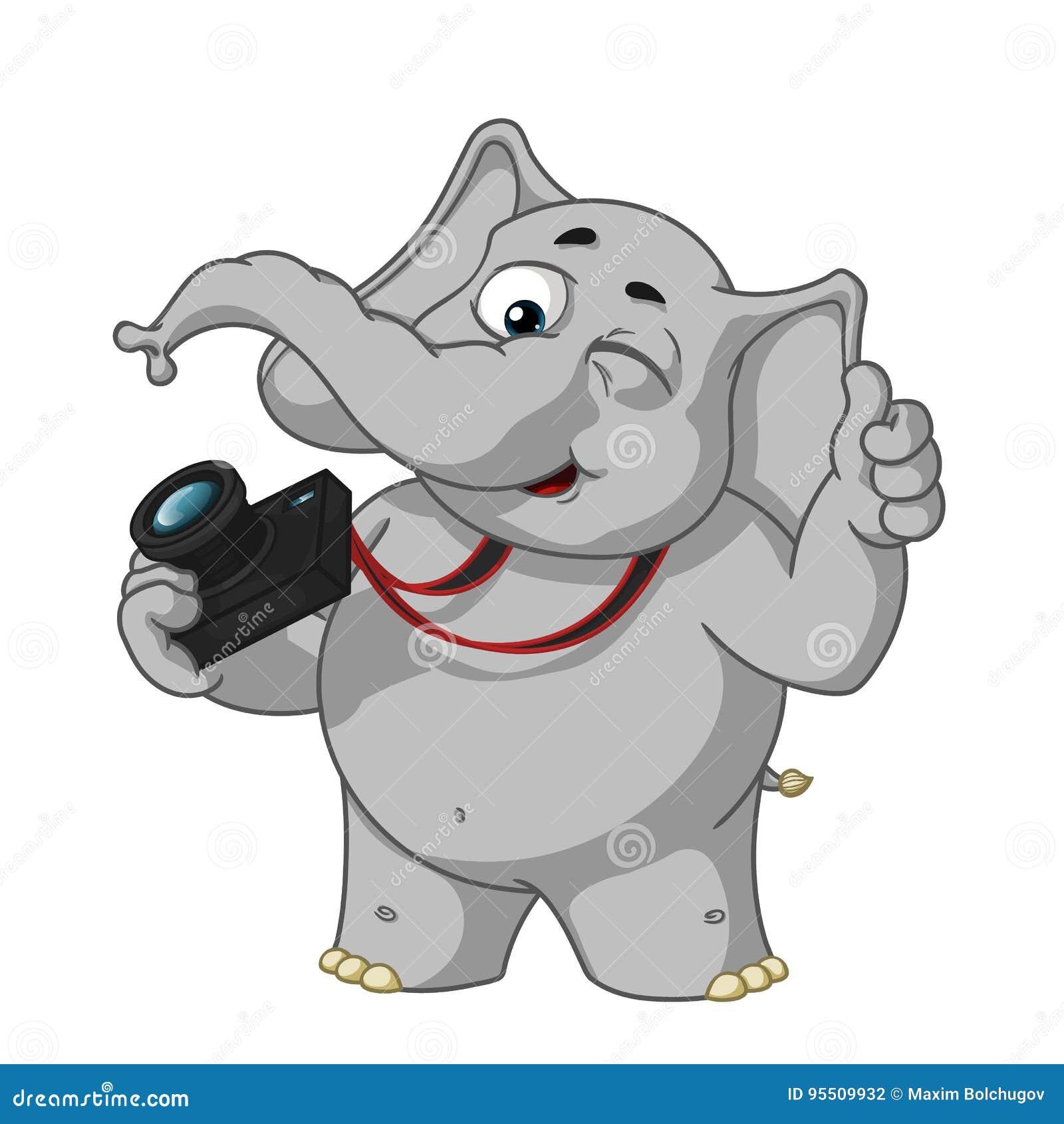Duzi inkasowi wektorowi postać z kreskówki słonie na odosobnionym tle Fotografów mrugnięcia