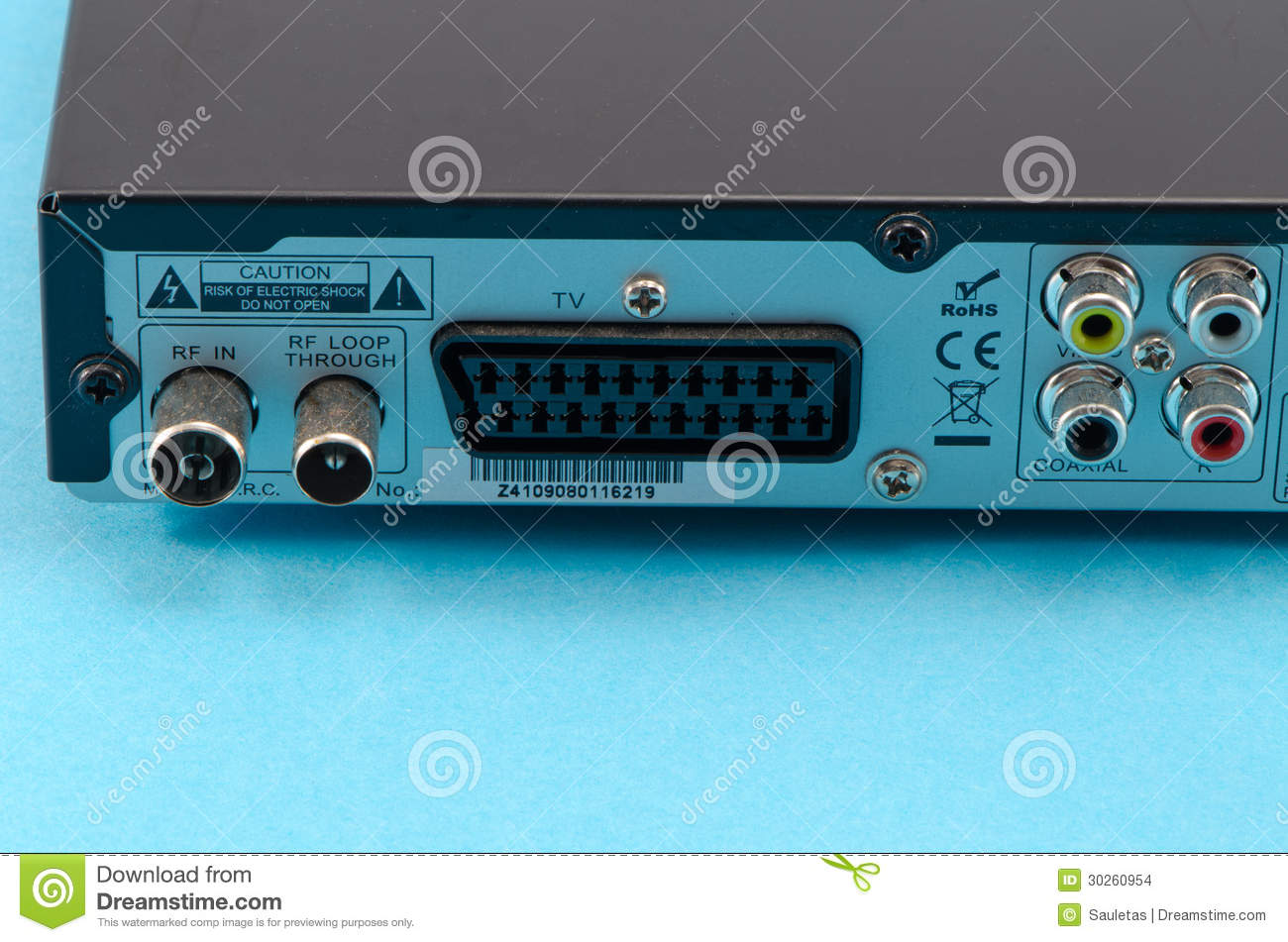 Dvb-t Tv Receiver Back Side Scart Tulip Wires Plug Stock Photo ...