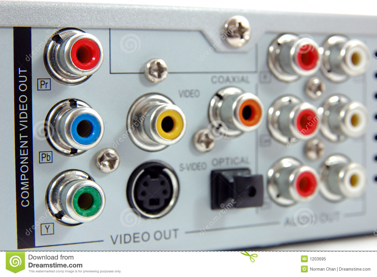Dvd player back panel stock image. Image of connector - 1203695