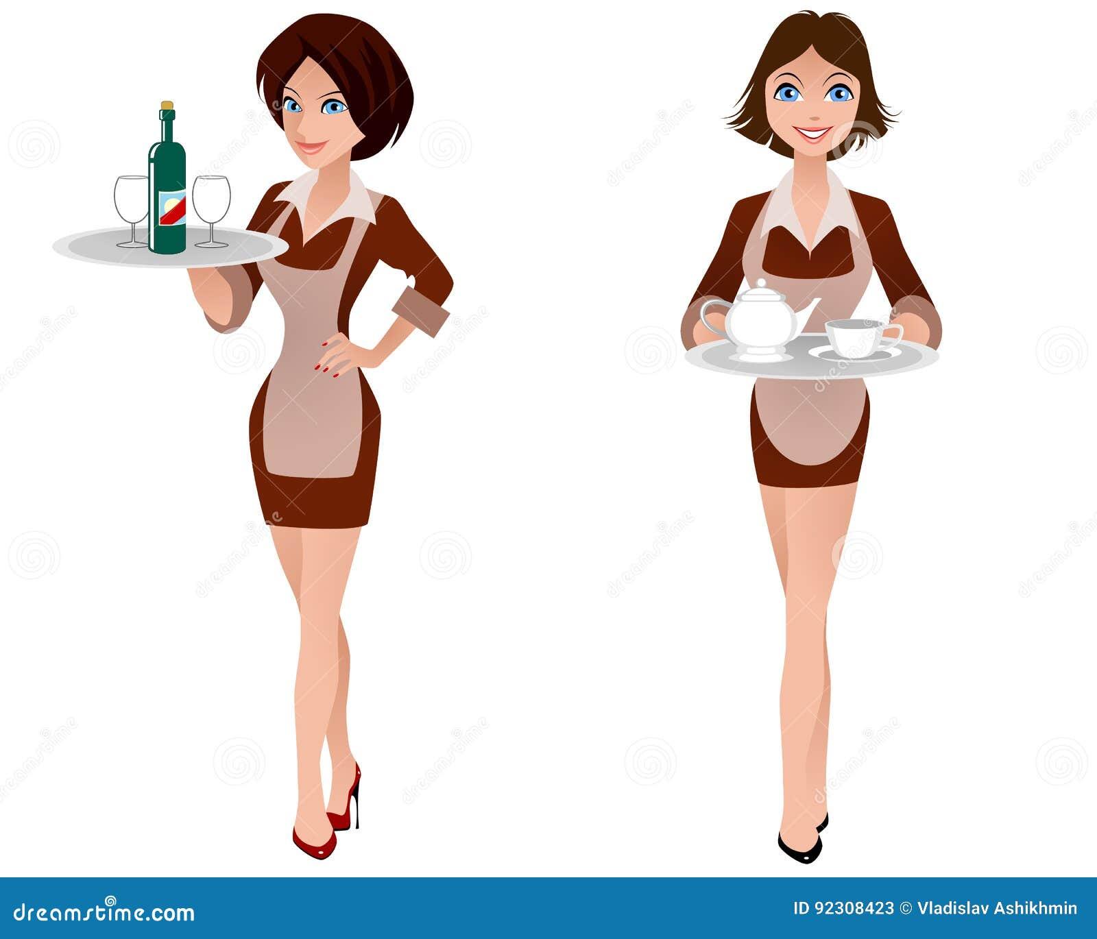 Dwa śliczna kelnerka